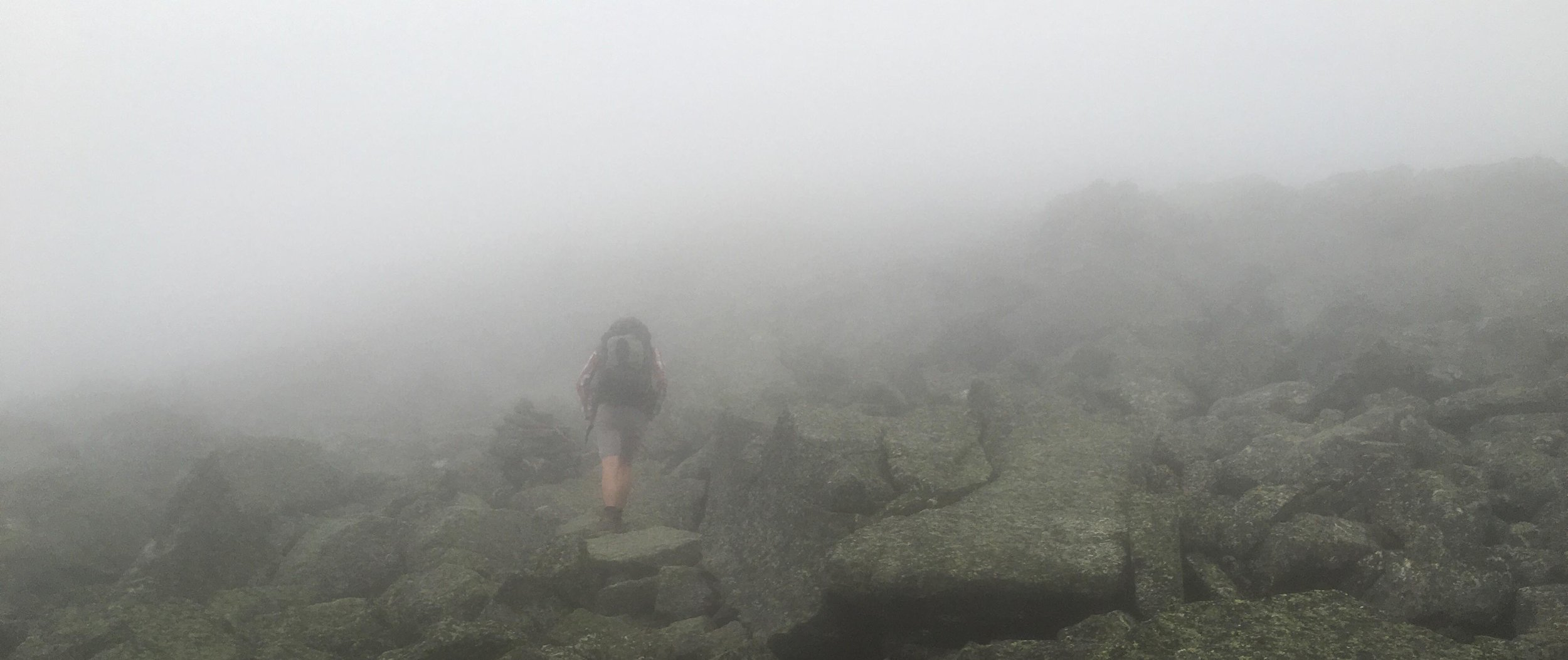 Mt. Adams, the second peak on the Presidential Traverse, was engulfed in fog and raging winds when Bassam Tarazi attempted it. (Photo by Bassam Tarazi)