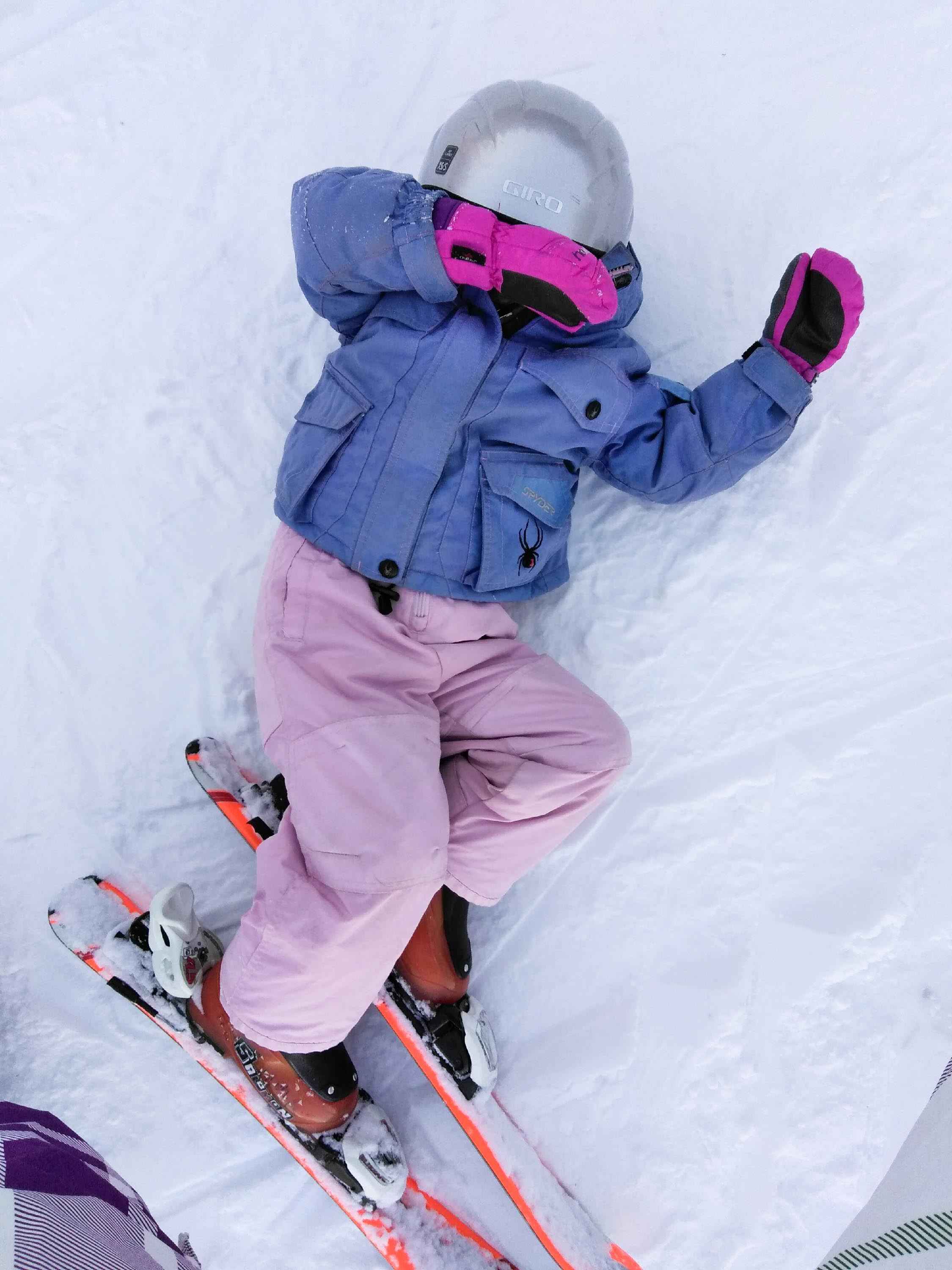 Jill and Eric Woltkamp's daughter takes a break from skiing (Photo courtesy Jill WOltkamp)
