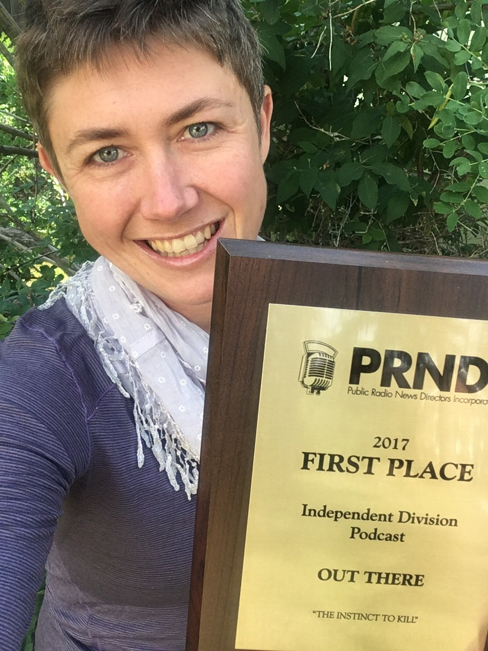Out There Host Willow Belden with our 2017 PRNDI award