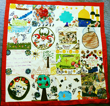 Textile wallhanging exploring past, present and future: here from Arabic speaking women's group Lalor
