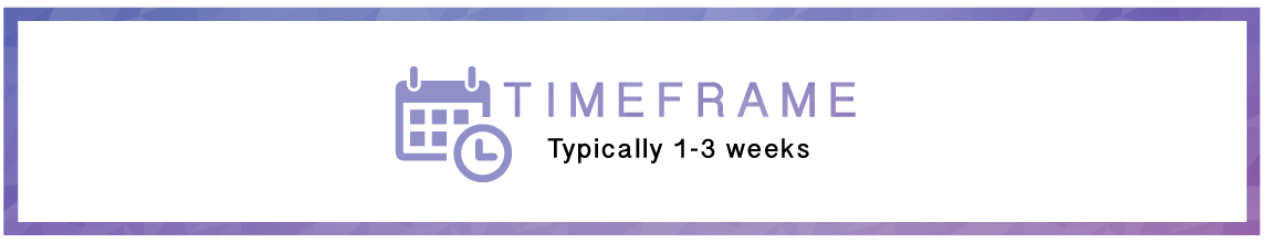 The timeframe of a web design package at Onety One