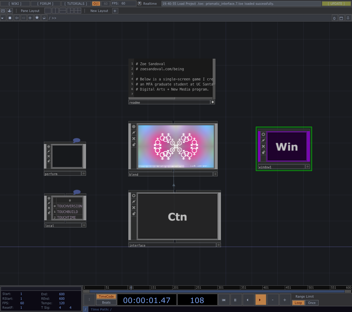 Screenshot from the TouchDesigner patch.
