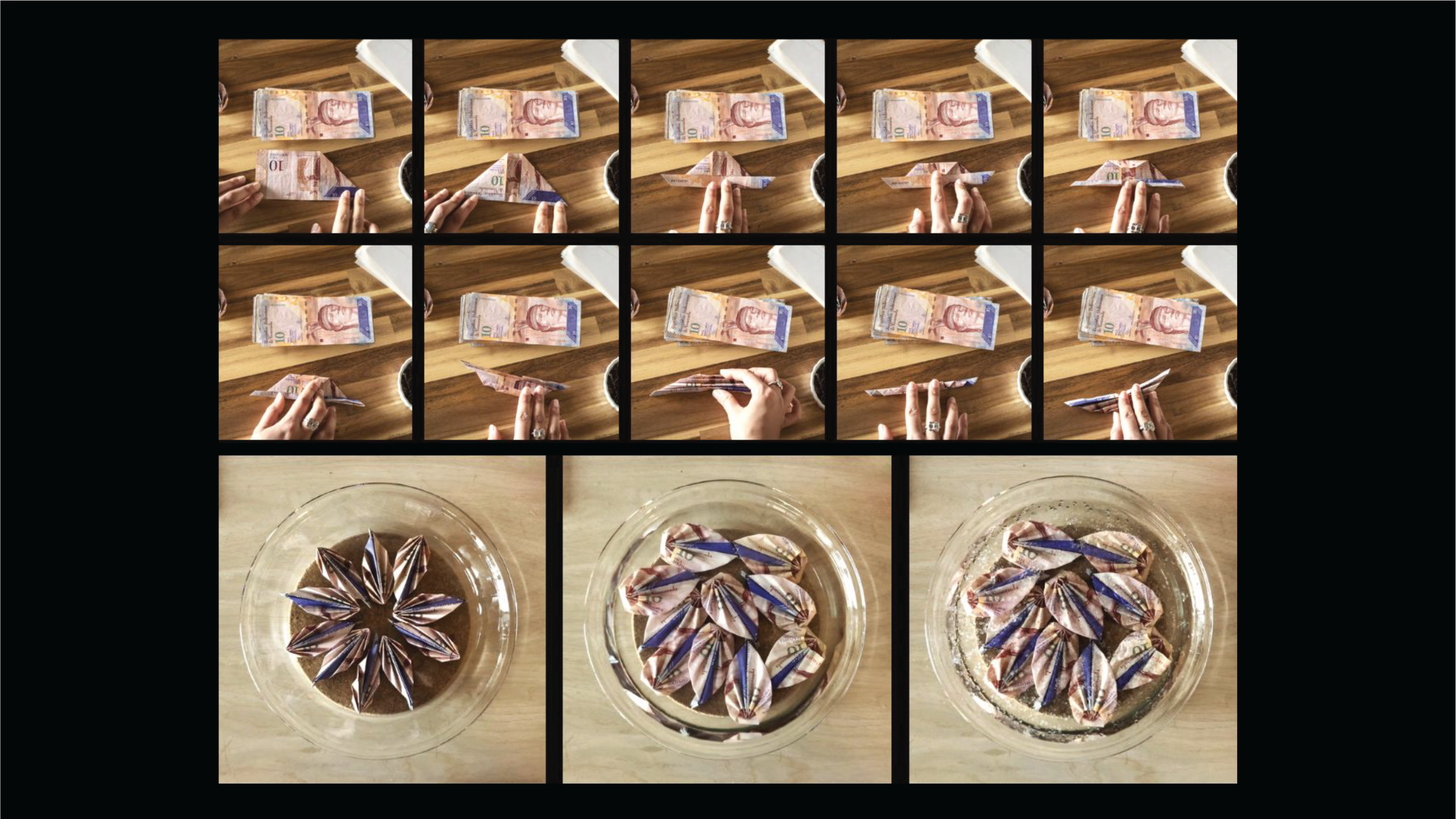 ~   So I began experimenting, and crafting new rituals using the currency as a source material. Here you can see Venezuelan bolívares that I folded and transformed. Observers have described them as shells, leaves, petals and tear drops. Refractions of my nostalgia - for a Venezuela I can no longer return too.