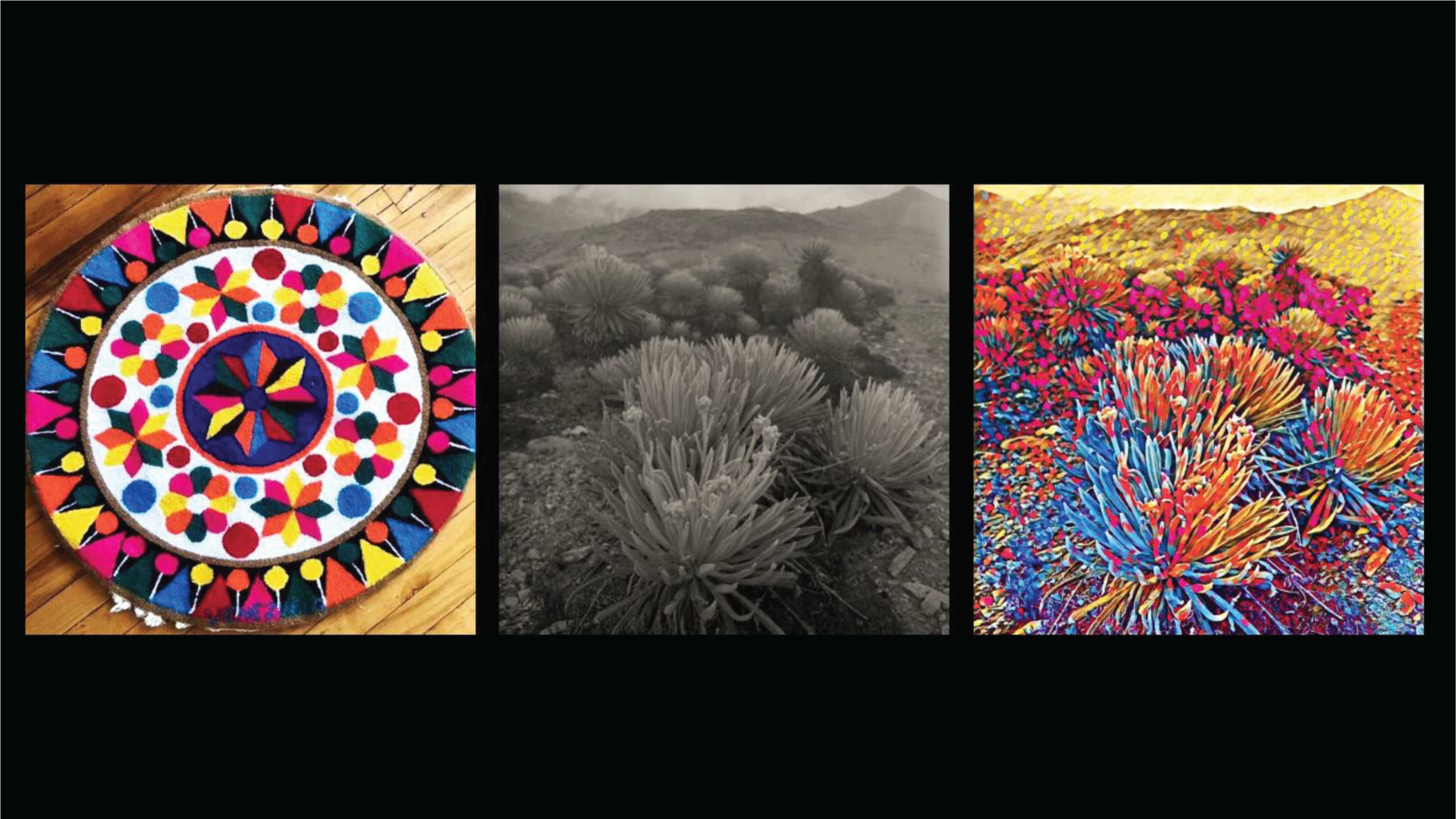 ~   And reflecting on the tension between the past, the present, and what it could mean for the future. I explored machine learning and computer vision techniques to reimagine these photographs. On the left you can see a Wayuu tapestry from the northwestern region of Venezuela. This mandala hung on a wall in our home while I was growing up. I trained a neural network with this photograph to create a model that then was used to create a new stylized, colorful image - what you see on the far right. I started to think of this process as a form of alchemy, a way to transmute my anxieties about Venezuela…