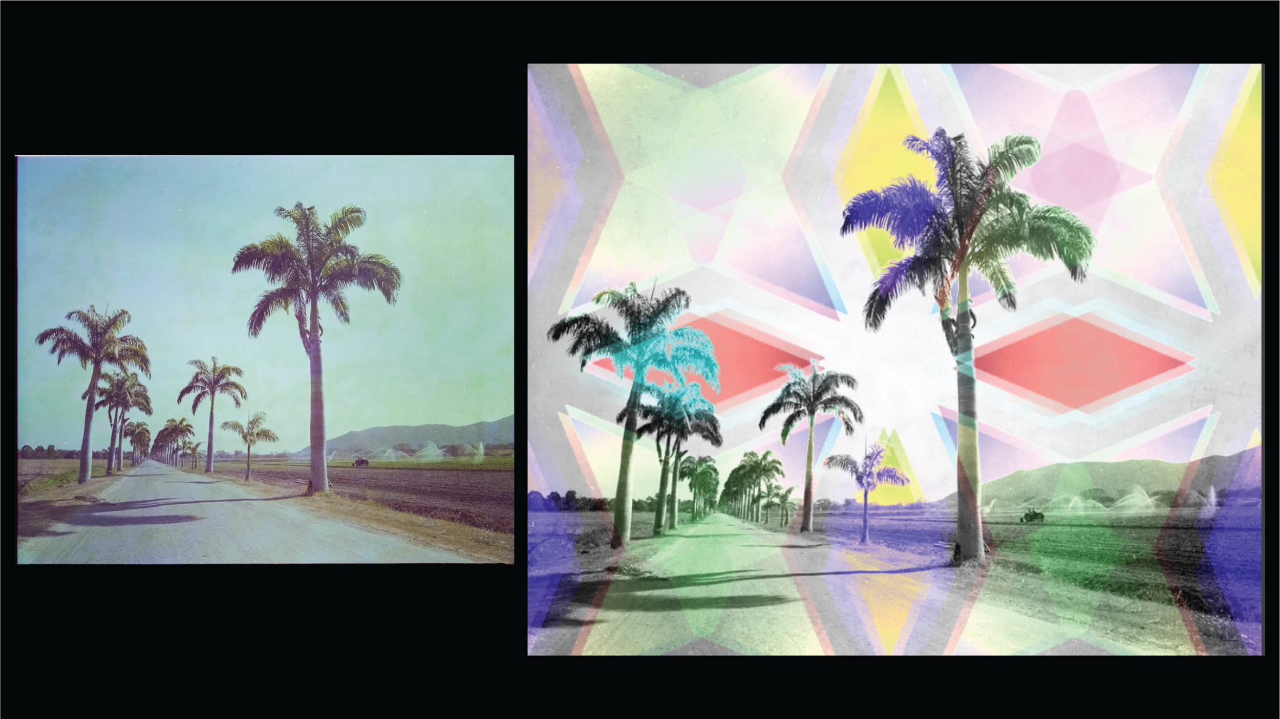 ~   However in digitizing my grandfather's negatives, I was reminded of Venezuela's rich culture and magical landscapes. Of collecting quartz crystals in the streets, and swimming in its crystalline waters. I began remixing his photographs…