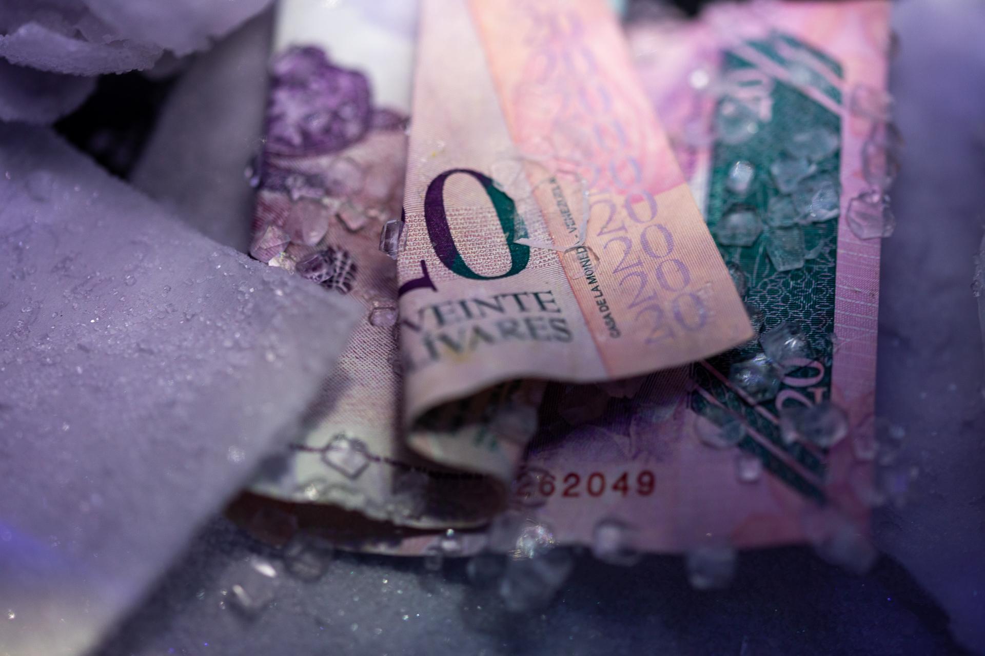 A crystallized Venezuelan bolívar