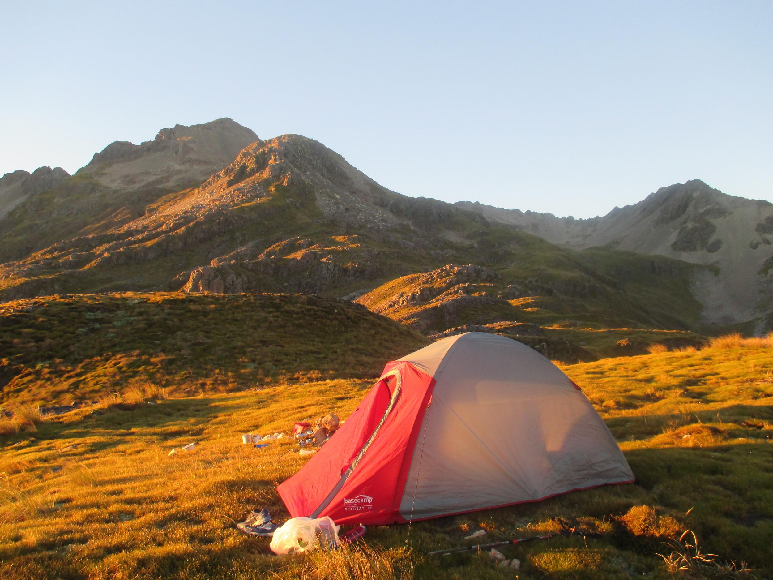 Dawn campsite Nelson Lakes