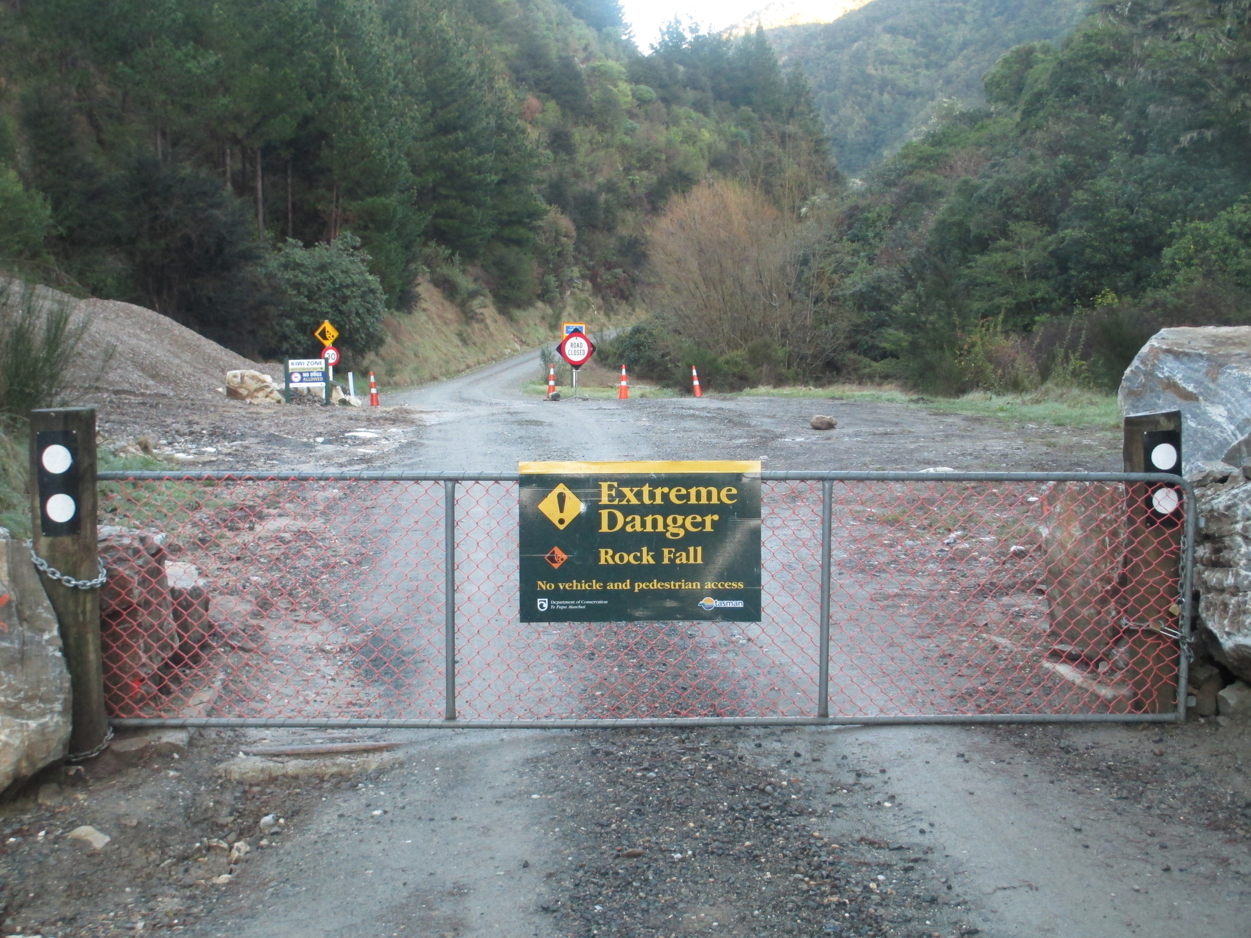 Road closed to Mt Arthur, perfect on a bike, will be only one on Mountain