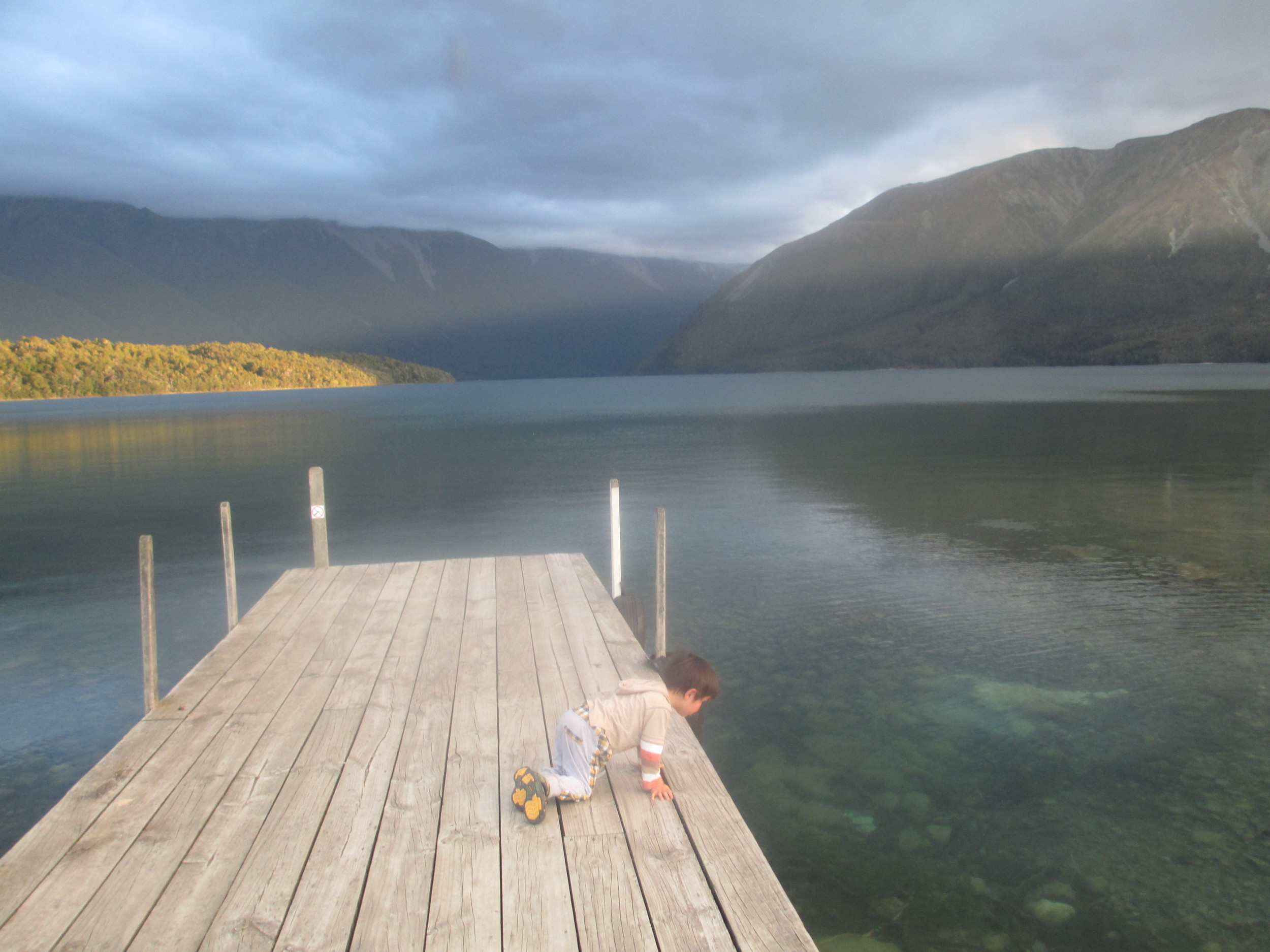 Leo looking for Eels , Nelson Lakes
