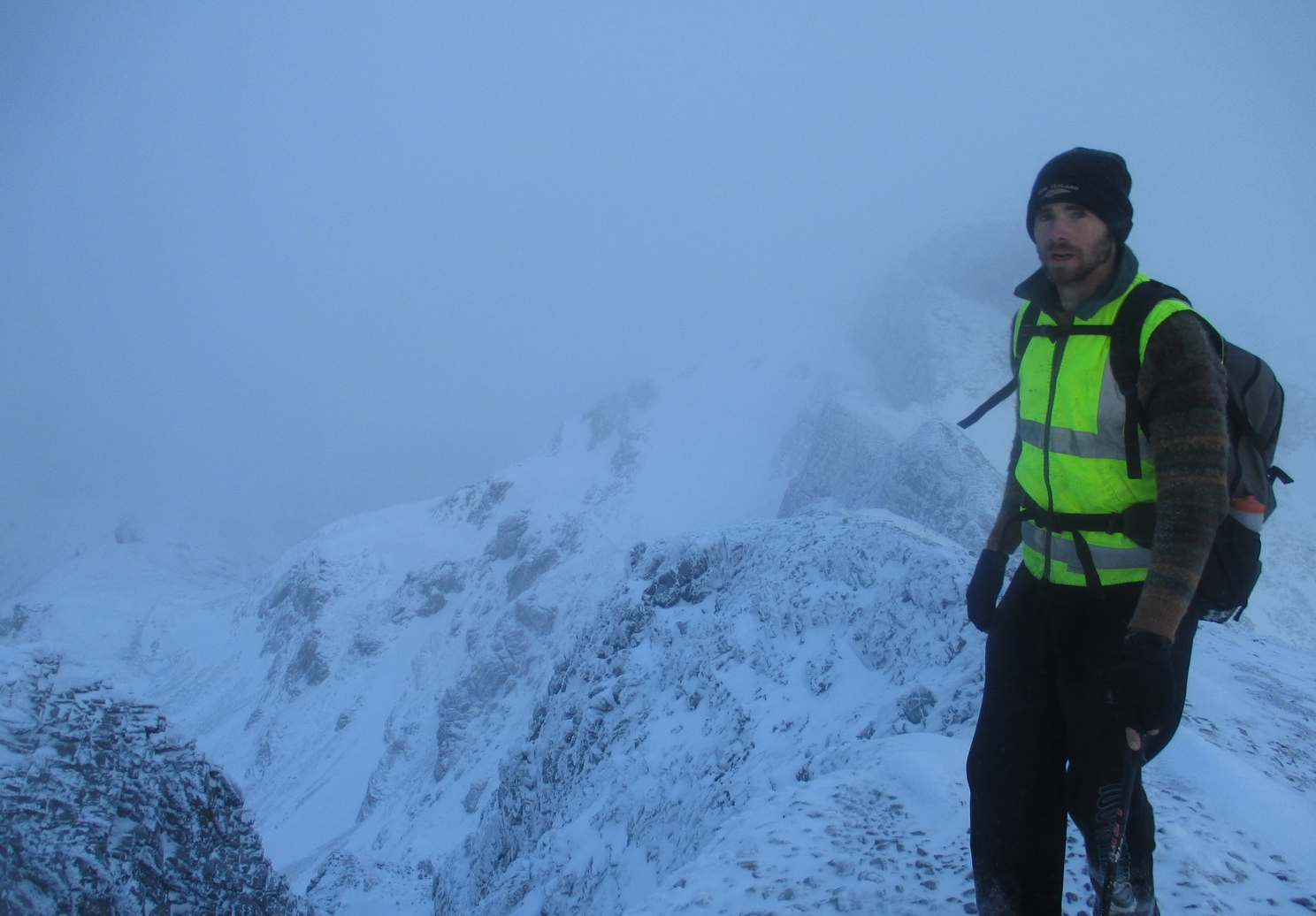 Carl in late Spring storm on Mt Arthur 2014
