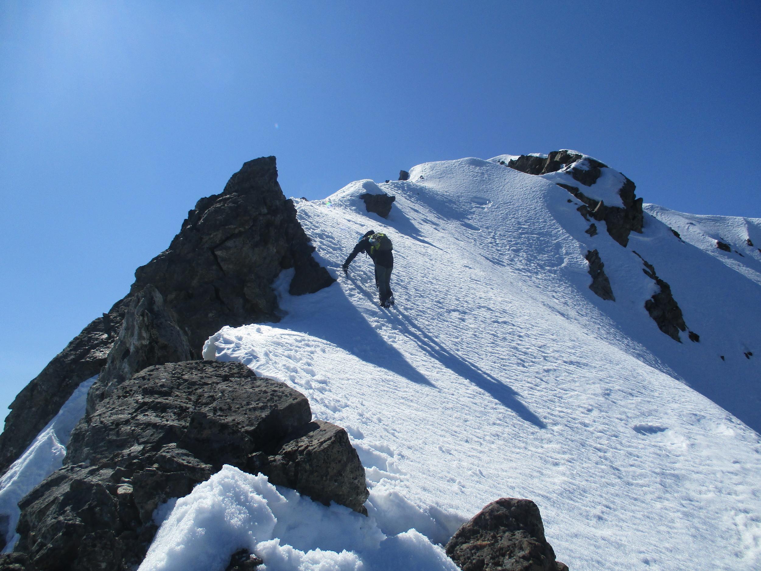 Another tricky bit - Sergio on ridgeline of Mount Chittenden