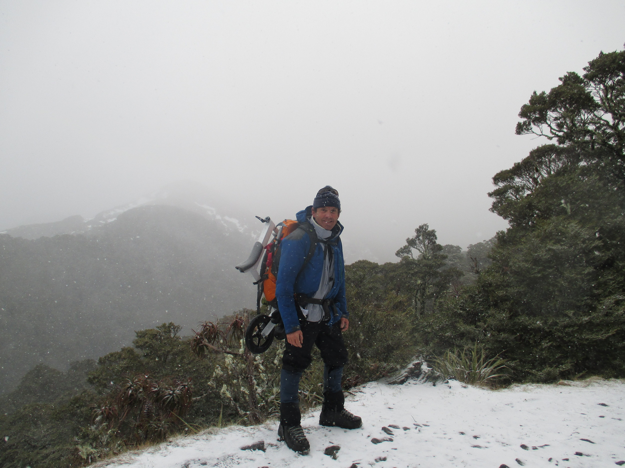 Heading up Mt Arthur in a storm 2015