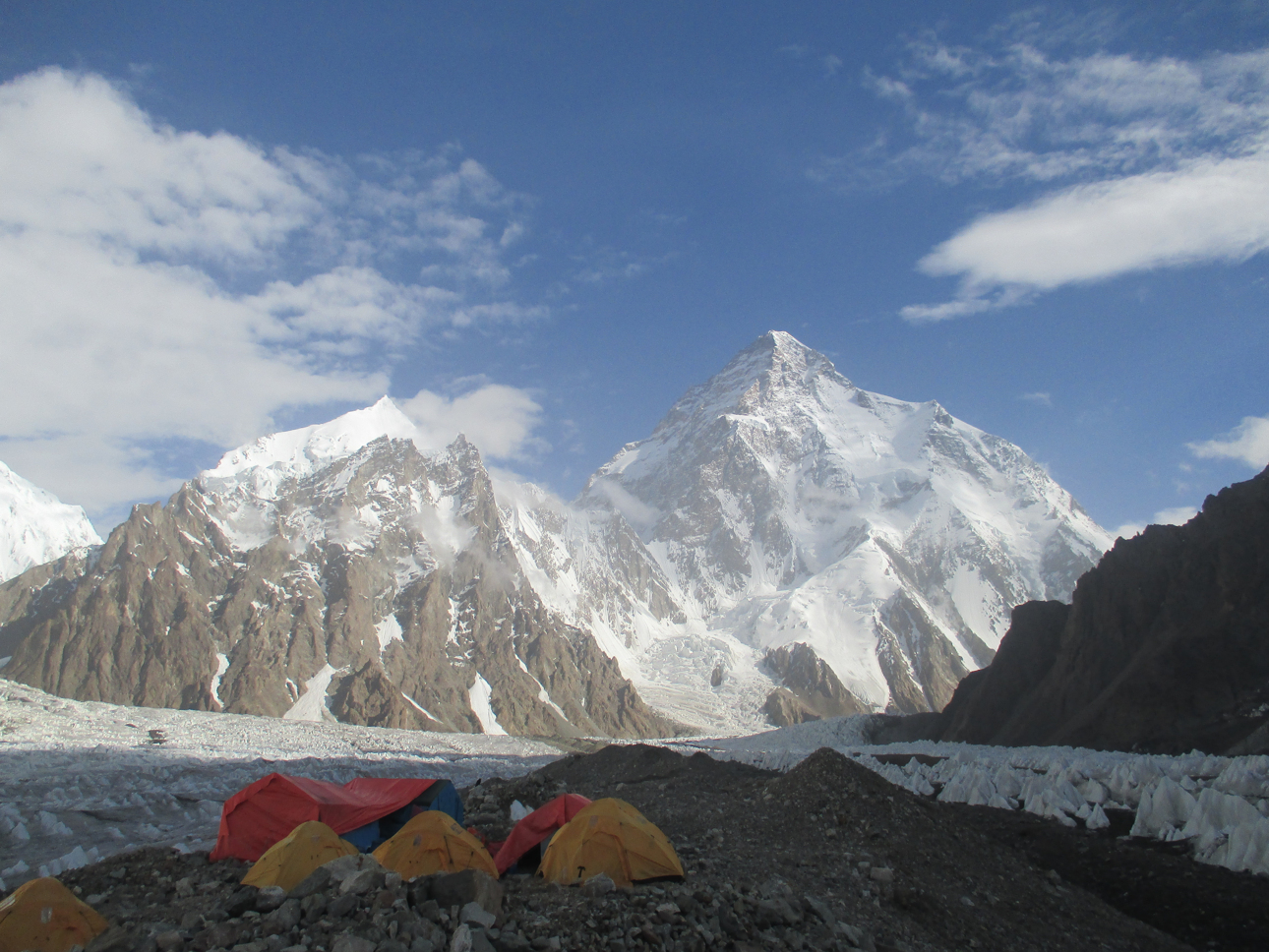 To the left of K2, was a bewildering mass of peaks and  glaciers whose existence I had not suspected. Sitting  alone gazing at the cirque forming the head of the  K2, glacier was an experience I shall not forget; no  mountain scene has impressed me more deeply  Eric Shipton