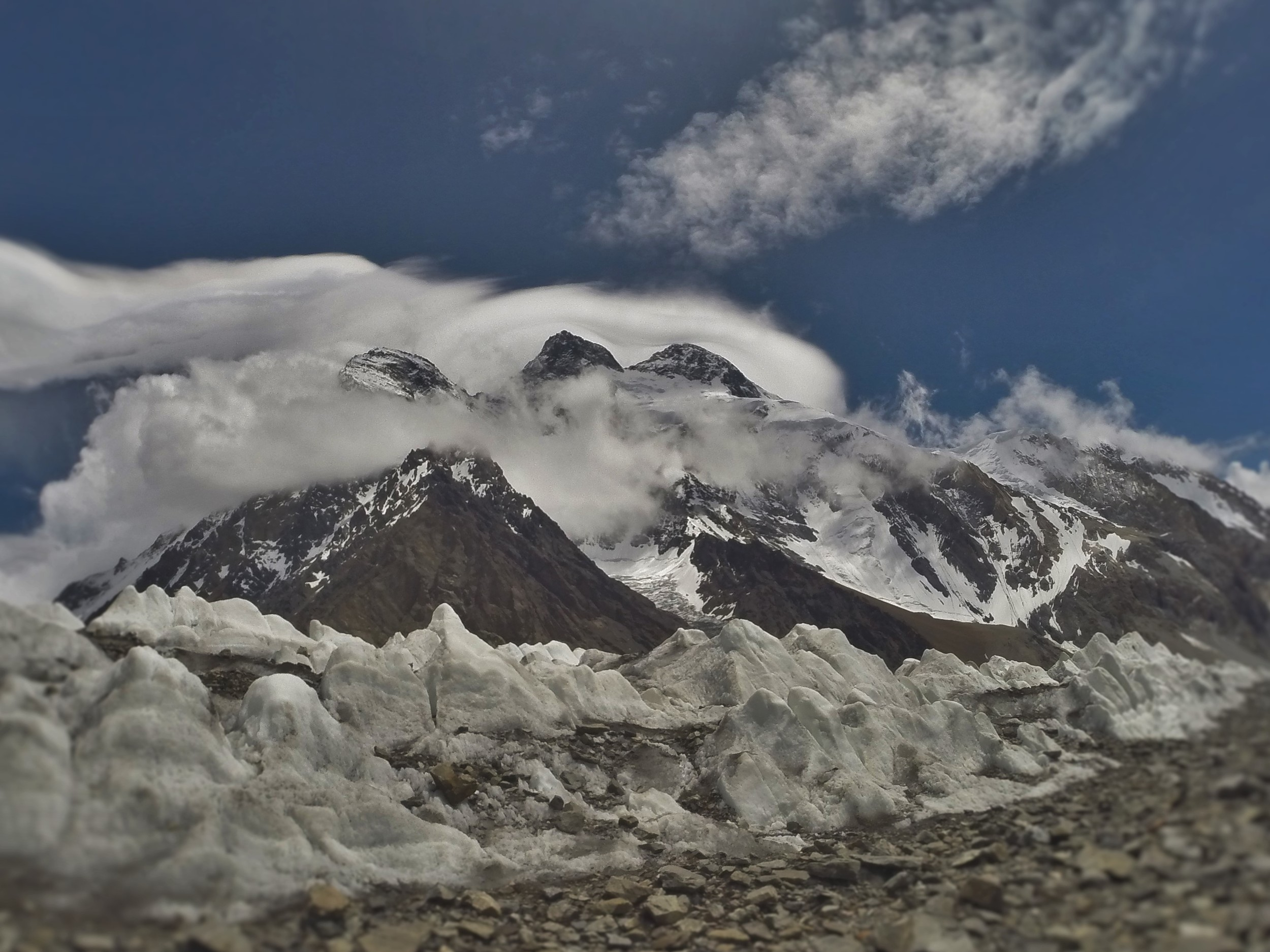 triple summits of Broad peak from the Goodwin Austin Glacier