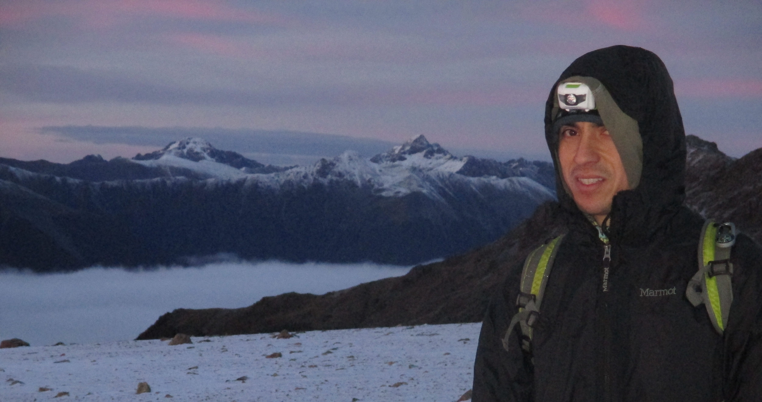 Dawn start for Sergio, Angelus ridge, Nelson Lakes July 2015, Mount Chittenden and point 2142 are in the distance