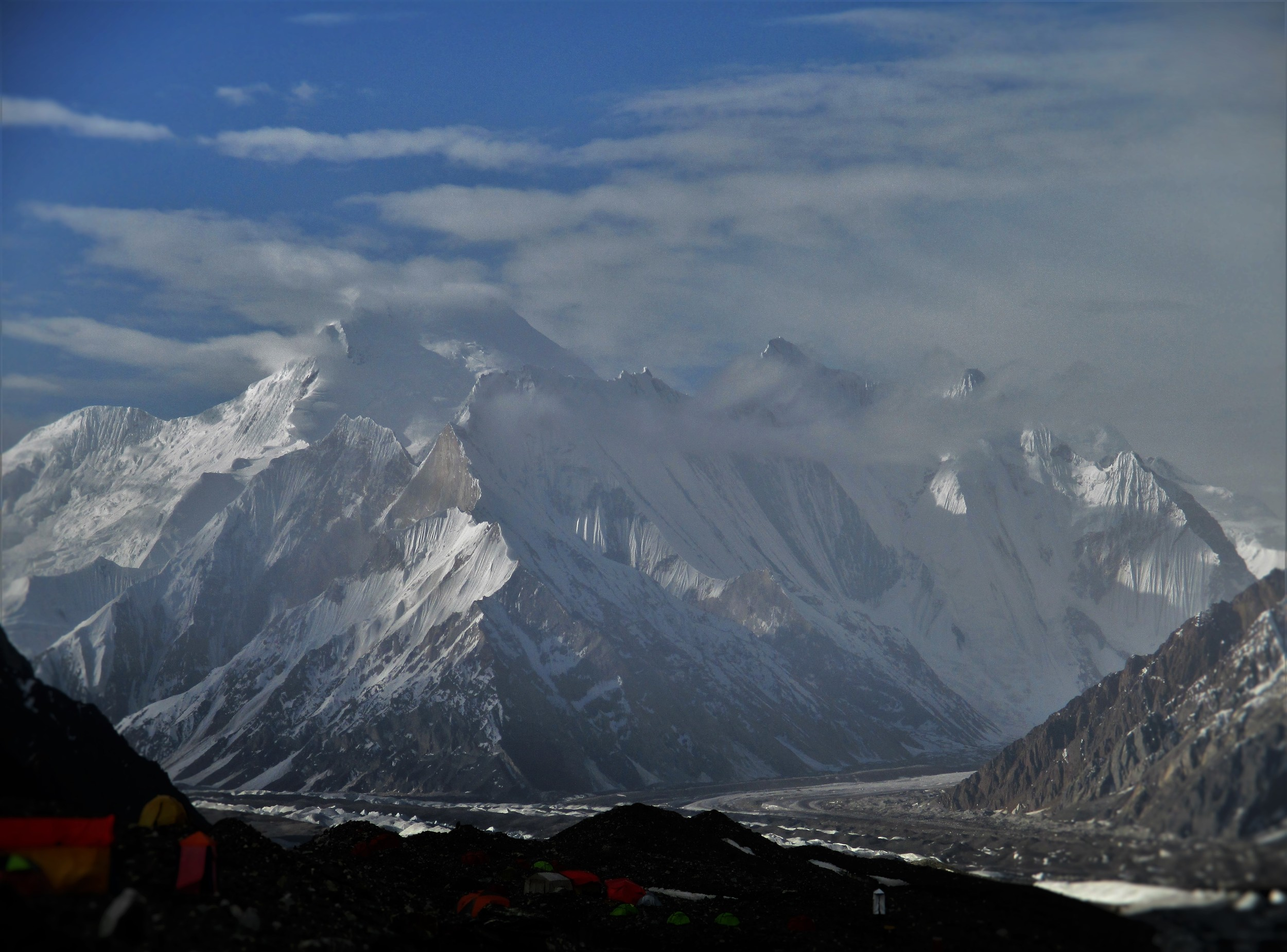 Chogolisa 7668 m, a beautiful snow mountain above Concordia. Photo taken from Broad Peak Base Camp.