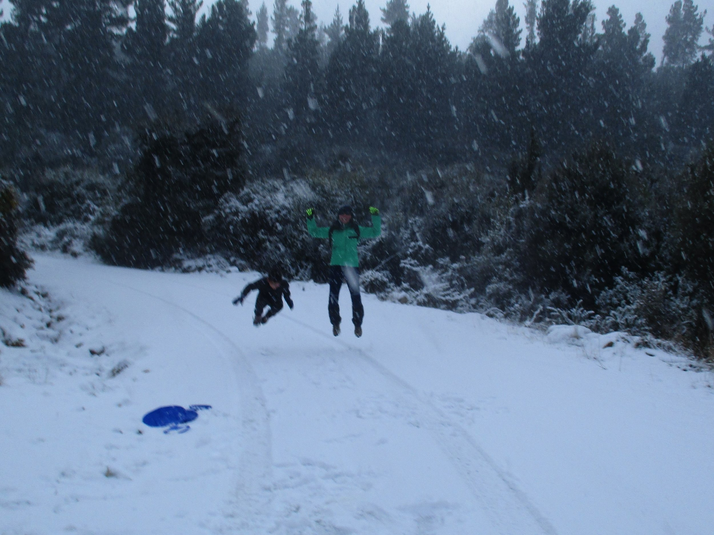 The Snow arrives - finally but in style , Linna and Leo jumping for joy.
