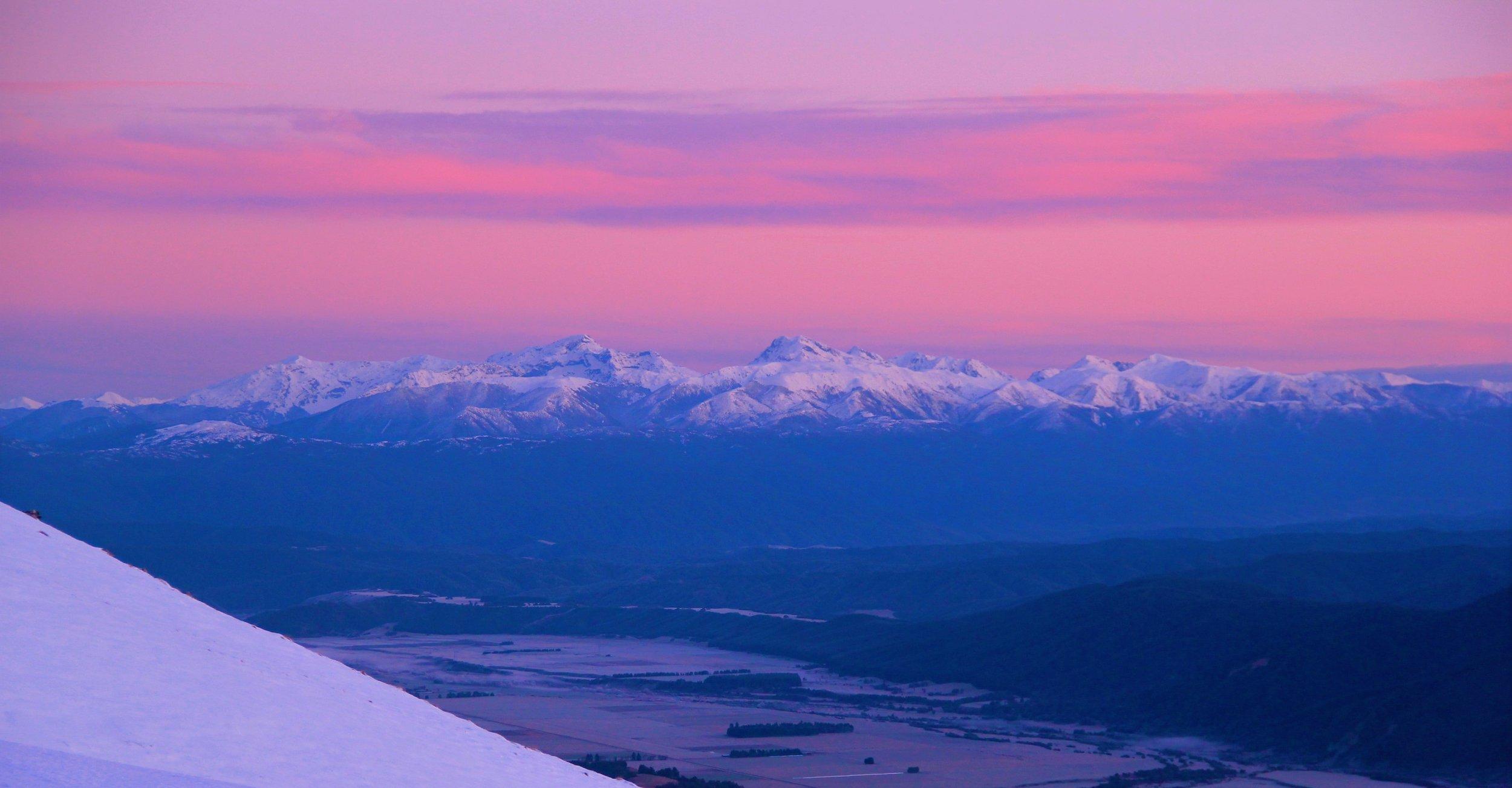 Mount Owen Massif at Dawn from Bushline hut.