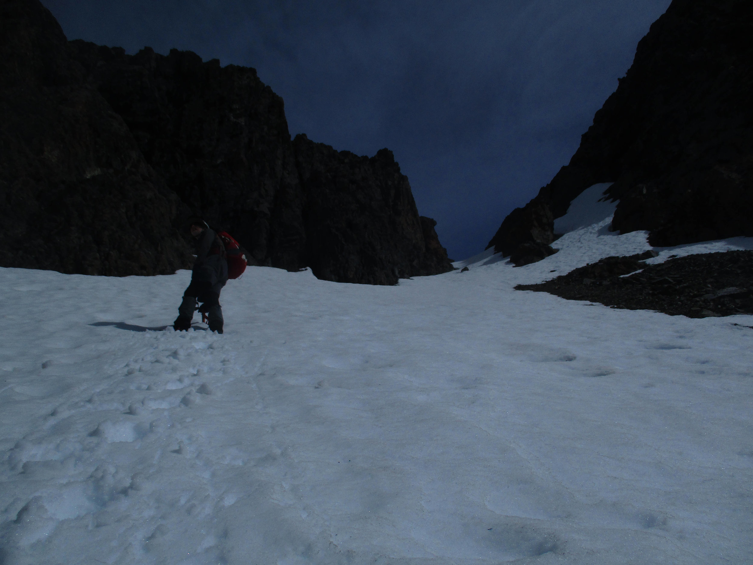 Perfect snow slope , steep enough for rapid progress, not so step as to be exhausting.