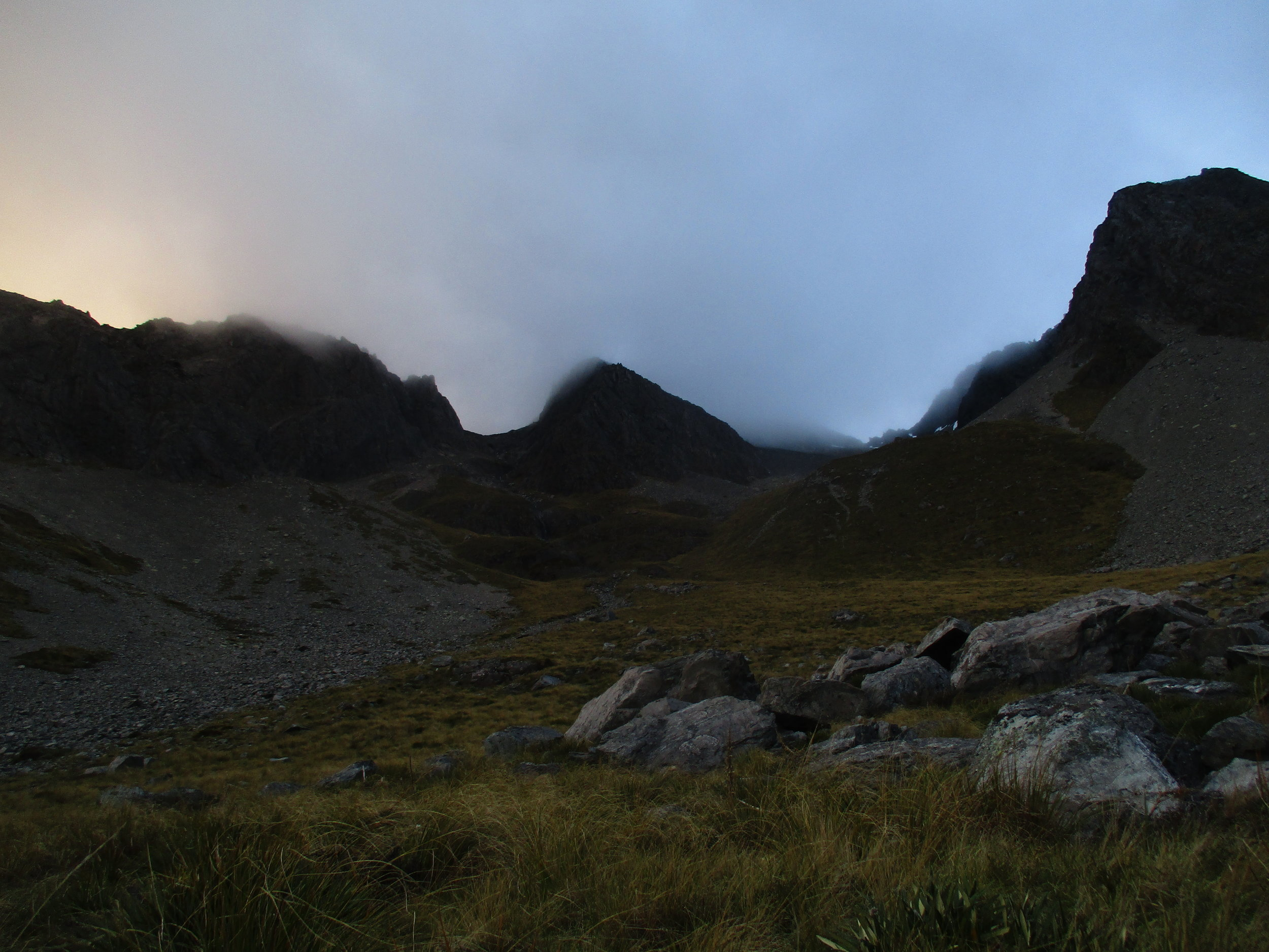 By the time we had descended to the Bivvy rocks the wind and clouds had enshrouded the mountain..