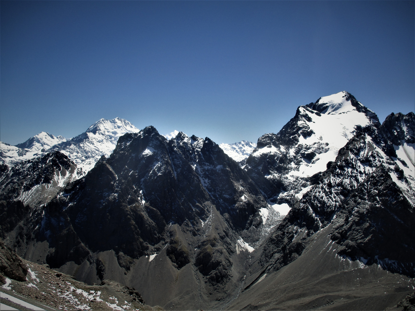 La Perouse ,Aoraki/Mount Cook and the Nuns Veil - our objective the following day as viewed from Mount Little.