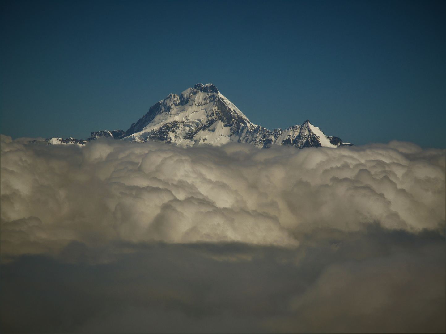 Stunning Sefton again, now rising above the clouds we descended into and looking very Himalayan in character.