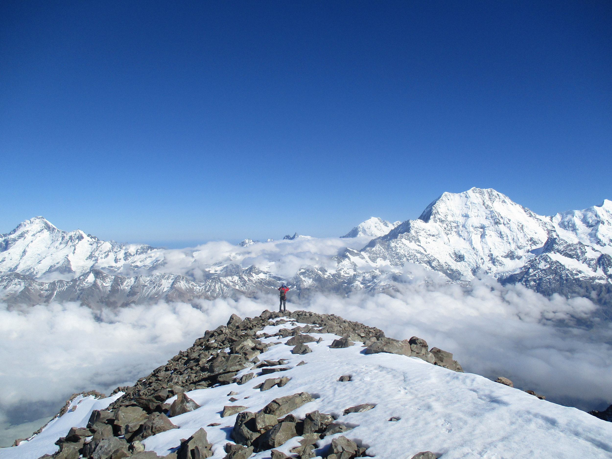 Mount Sefton , La Perouse and Mount Cook from the summit of the Nuns Veil.