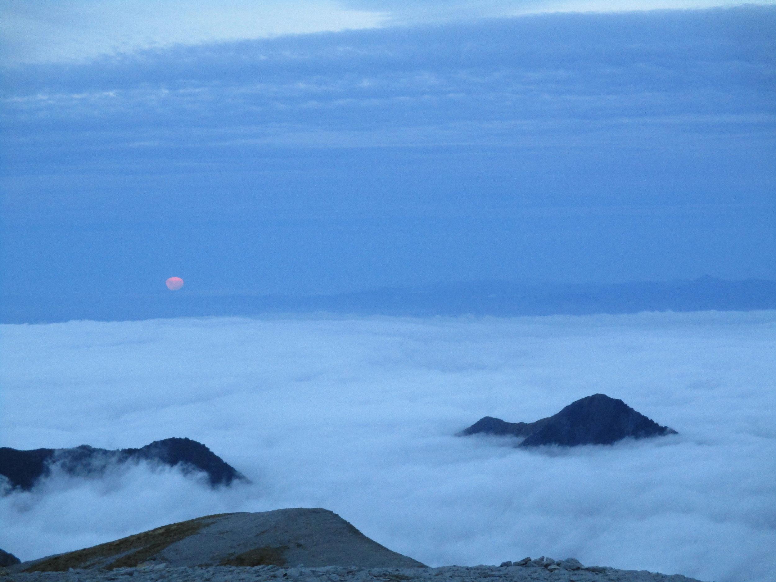 Moon rise from summit Mount Arthur