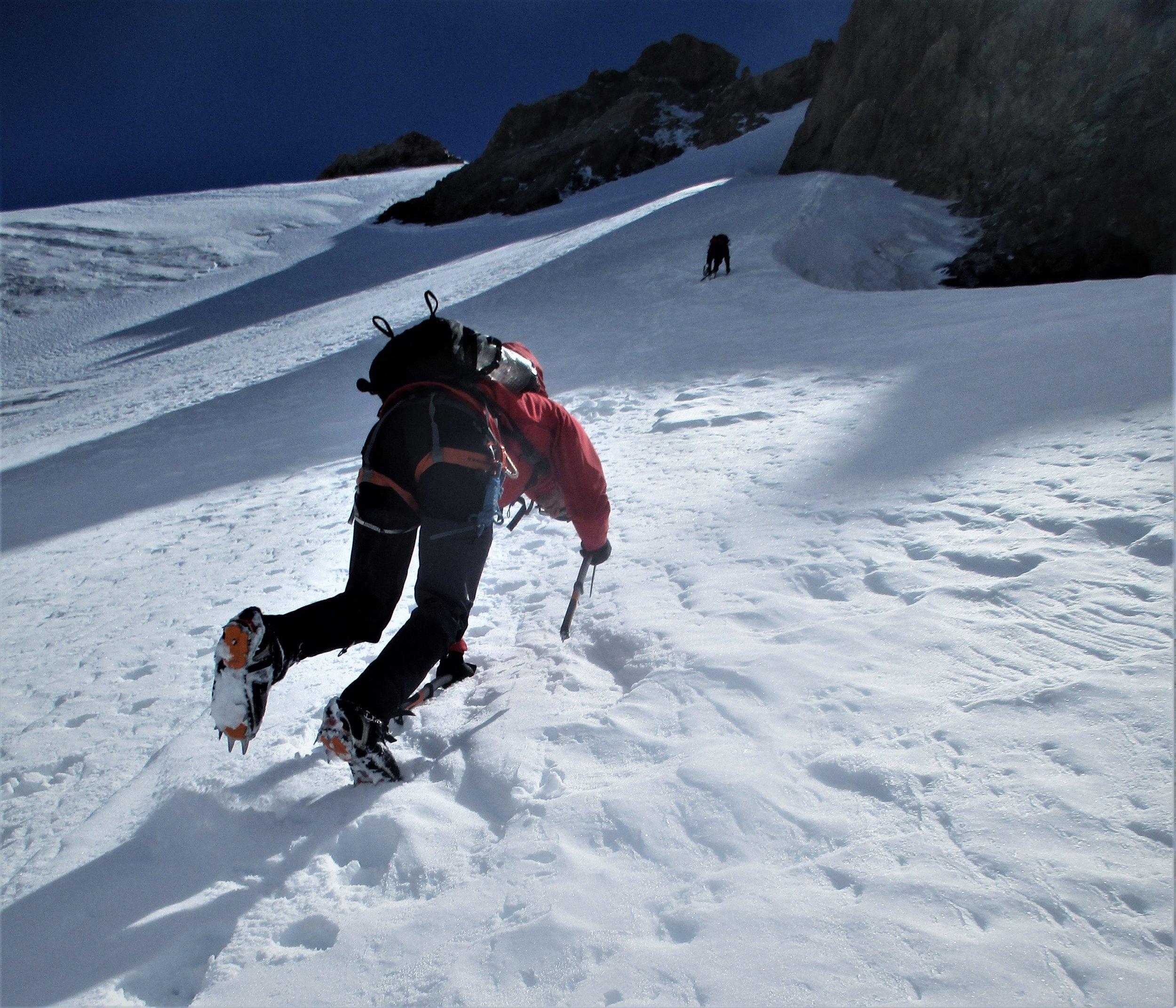 Descending in mount Cook National park