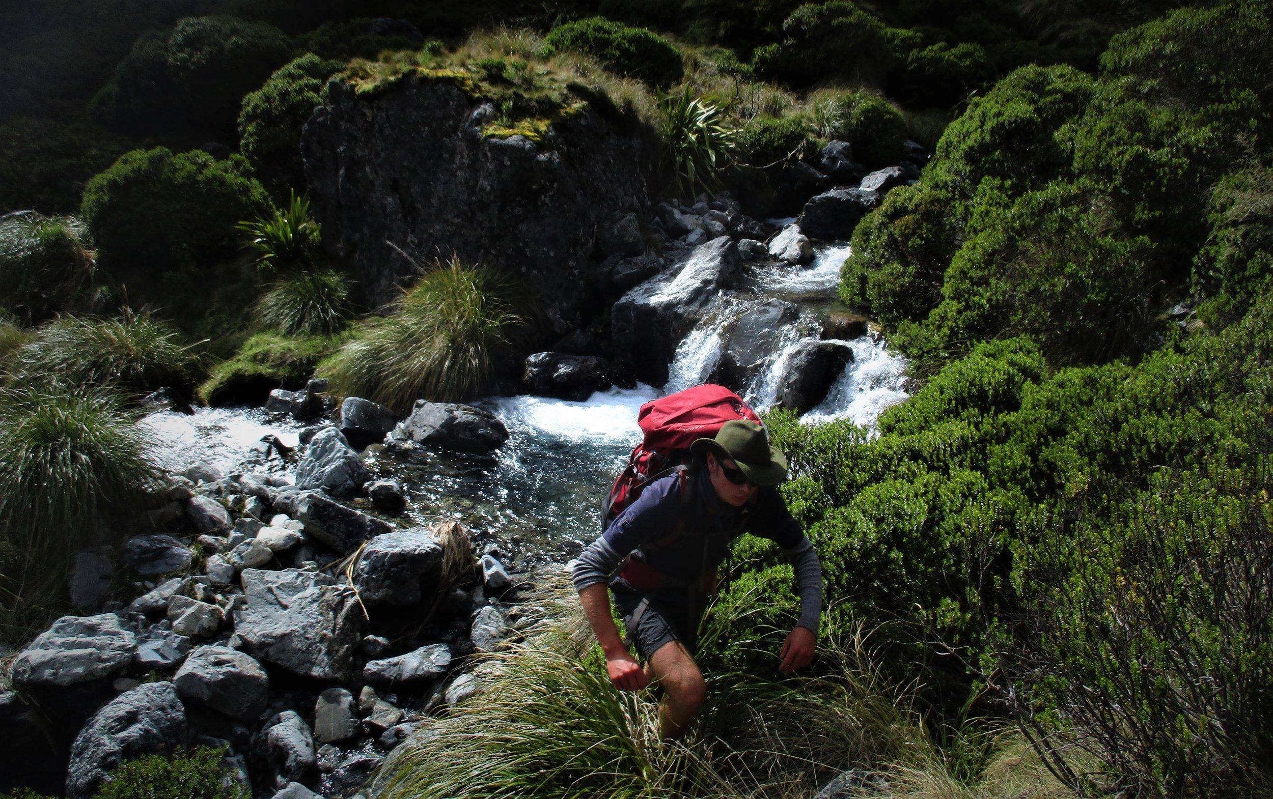 Jono heading up river