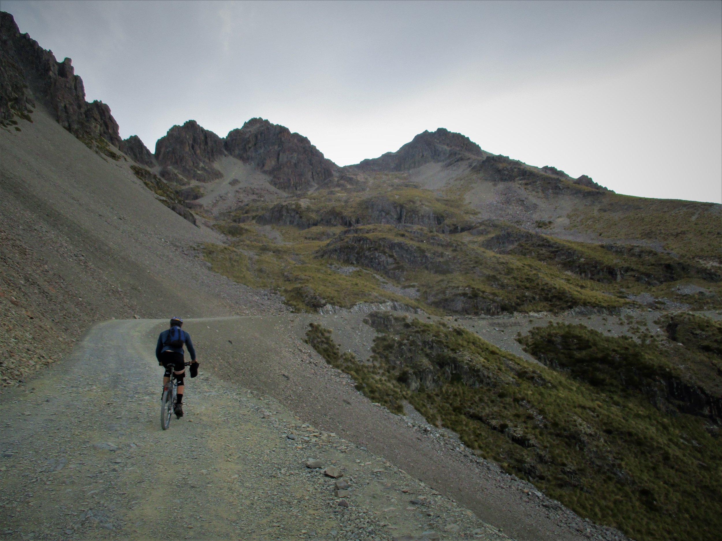 Carl on the Ohau Skifield road , a long ride up