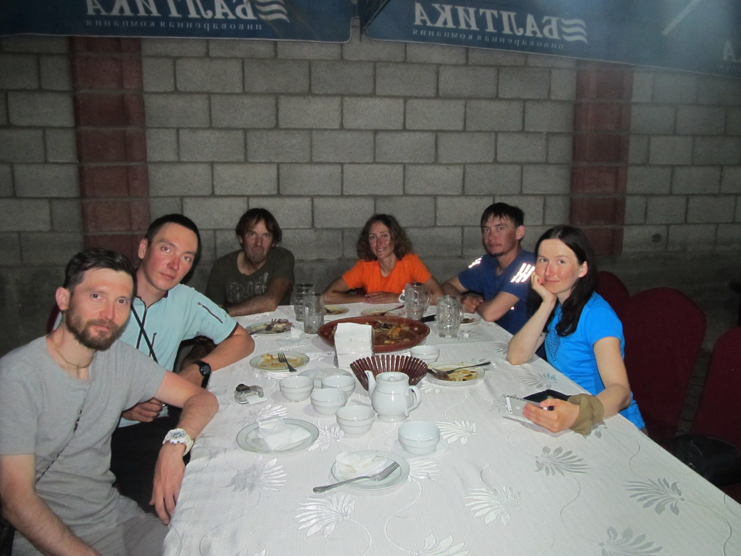 In Osh  I meet up and had dinner with this very friendly group of Russian mountaineers who came from the Southern Urals and just completed a very interesting 5 week traverse of the Alay mountain range