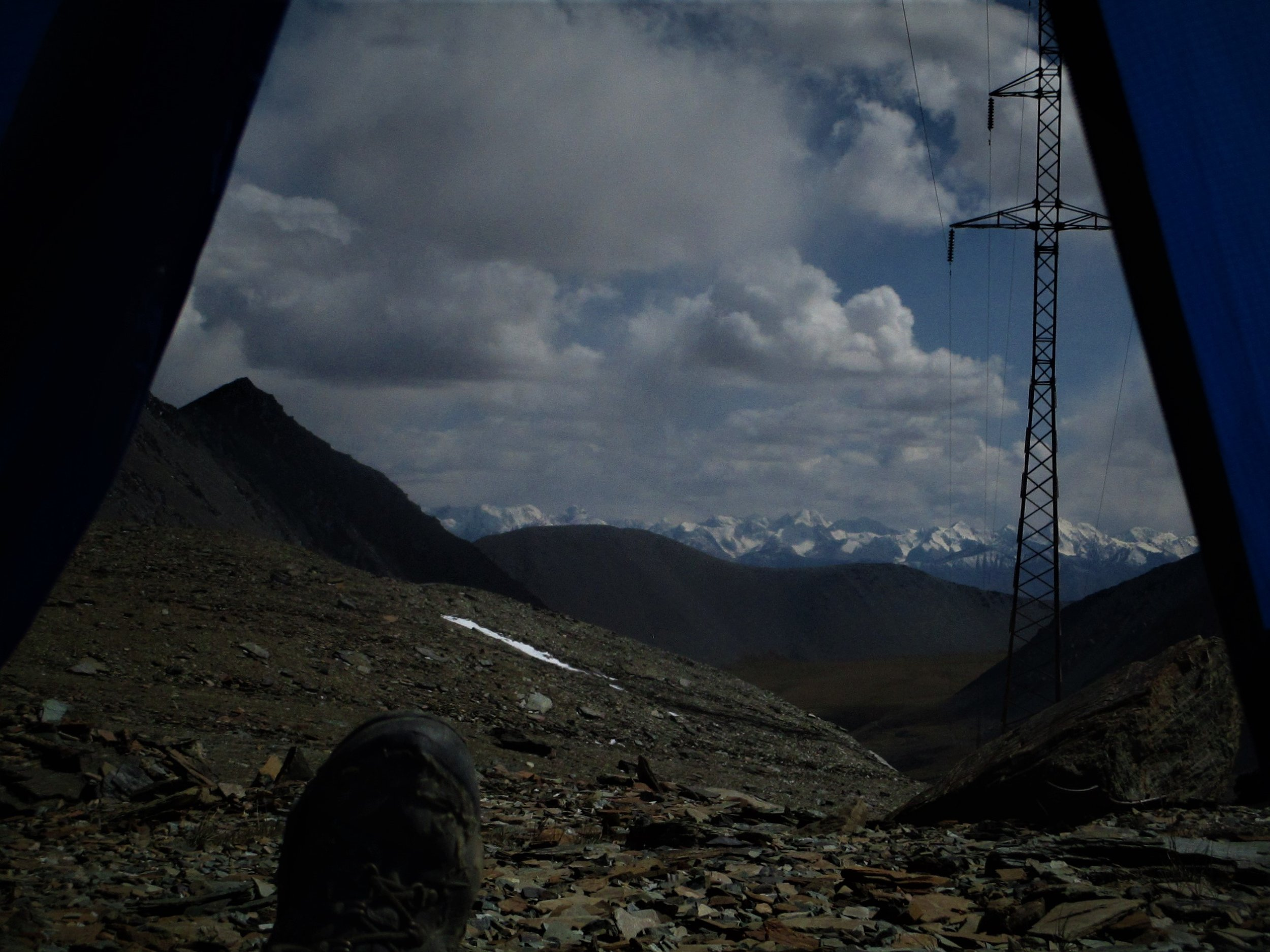 Campsite  on the Suek pass 4230 m- looking out the Tent door into the Main Tien Shan mountains close to the Chinese border. The night was surprisingly mild