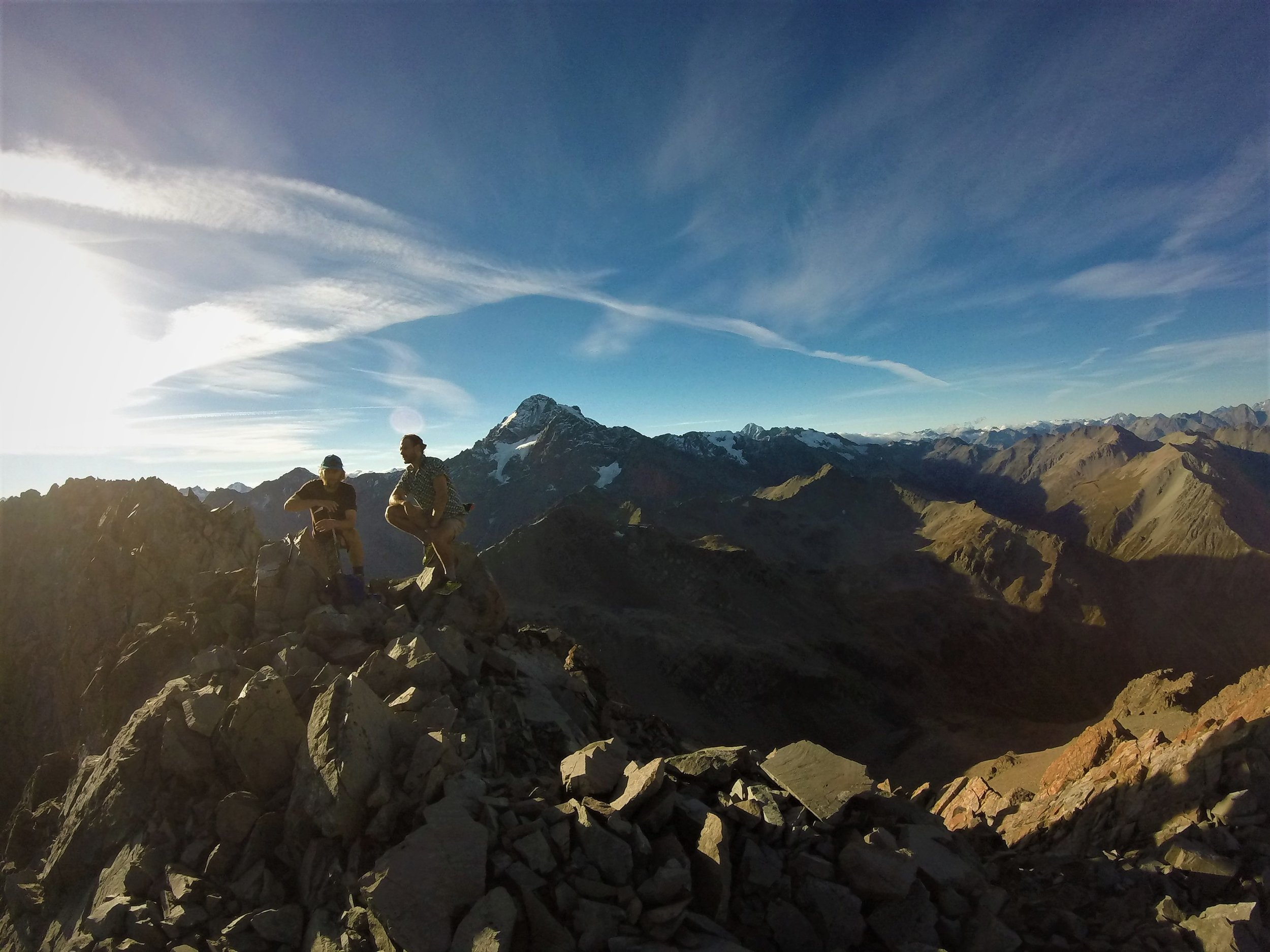 Ben and Jos on the summit of peak 2285 with Mount Sibbald behind.