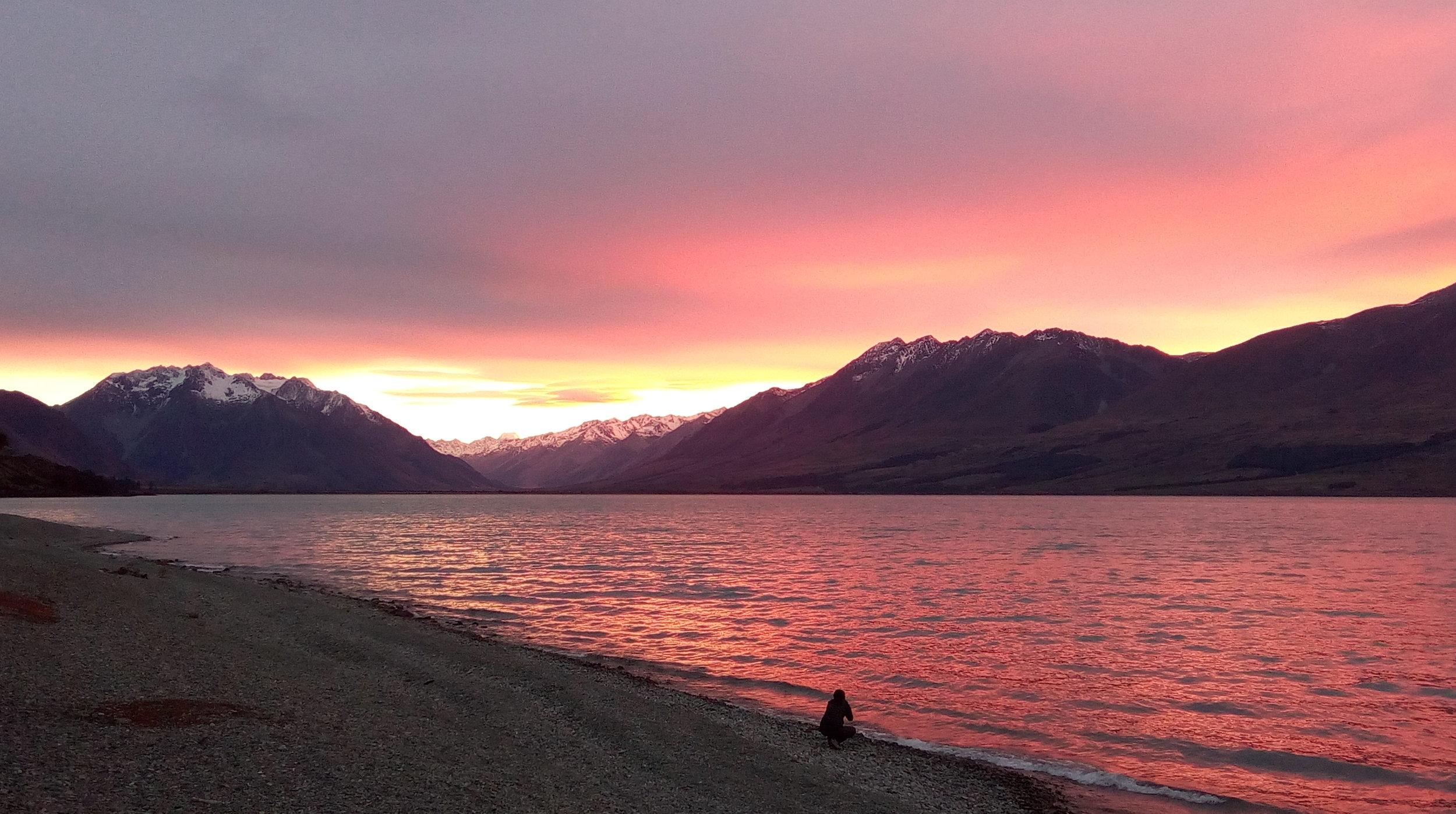 Lake Ohau at sunset