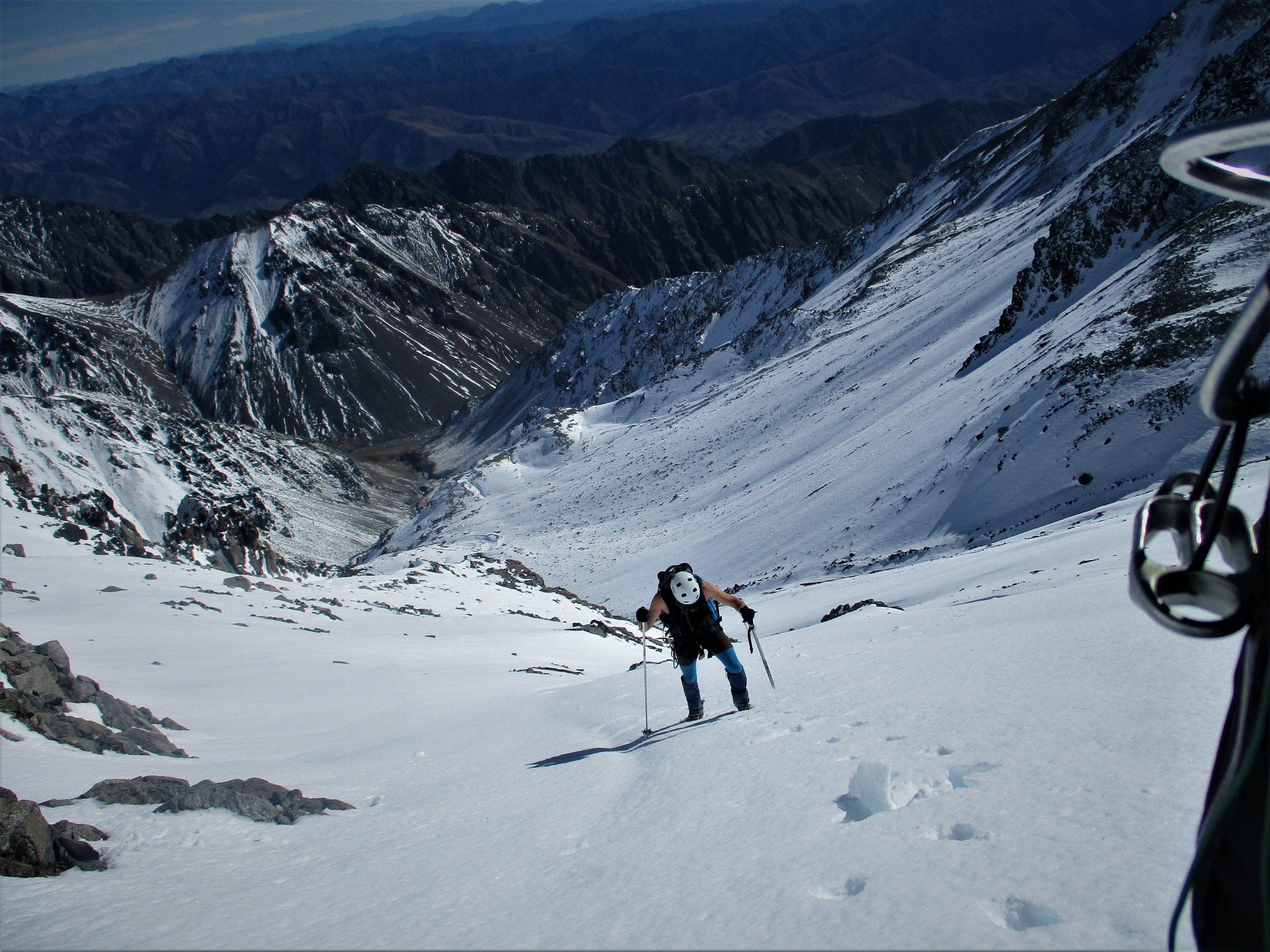 Carl plods on , most of Tapuaenuku was just hard work with soft snow under a thin crust making it extra hard.