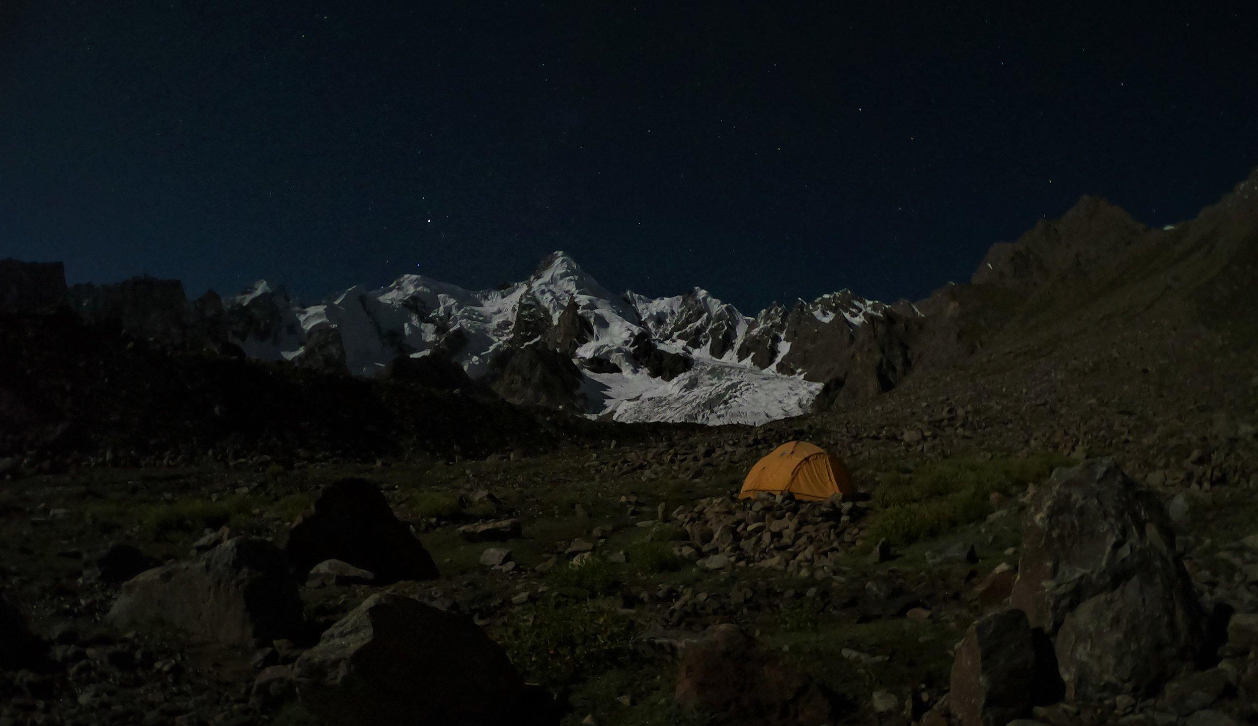 Base camp at Bondit peak under a full moon