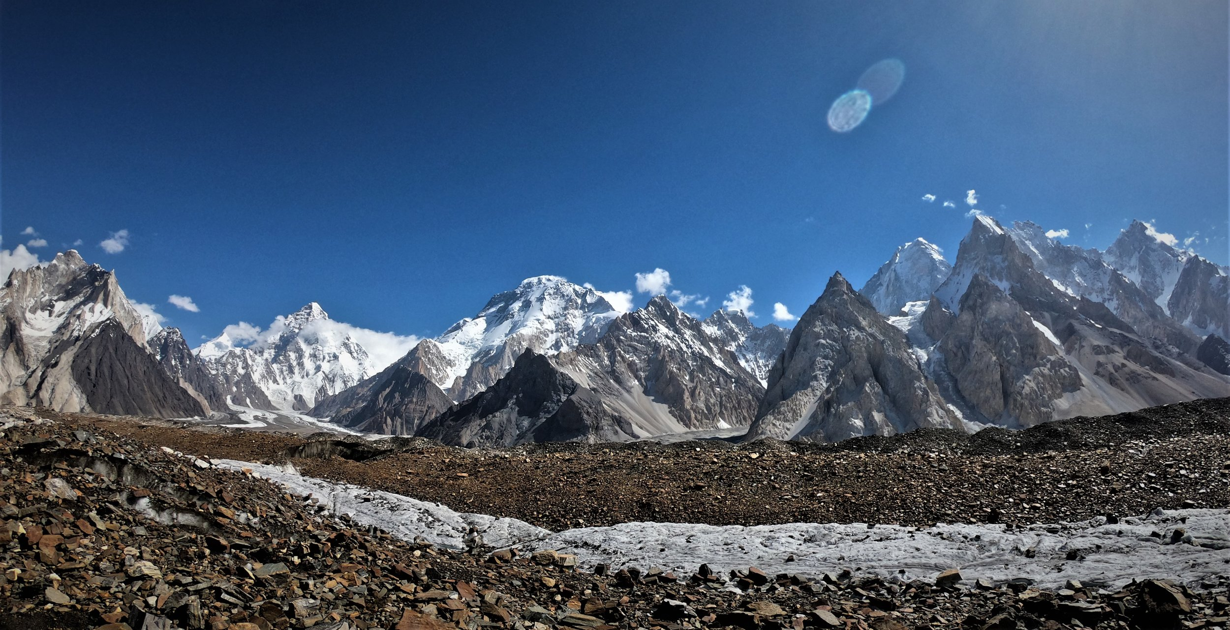 On the way to Gondogoro pass , looking back to Concordia with K2, Broad Peak , Gasherbrum's 4 - G2 and G1 all in the picture, the greatest concentration of major peaks in the world.