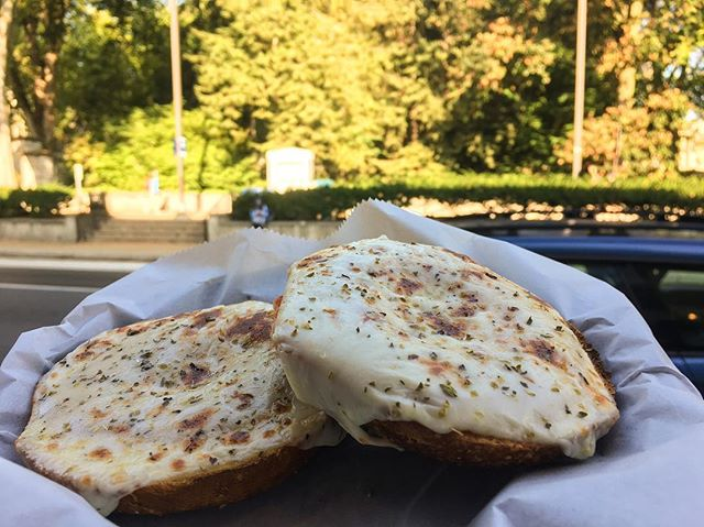 We know you want a pizza this bagel 😉 It's lunch time, come on in! Feeling lazy? Order on @ubereats with the link in our bio! #eeeeeats #phaat #happyvalley #statecollege #pizza
