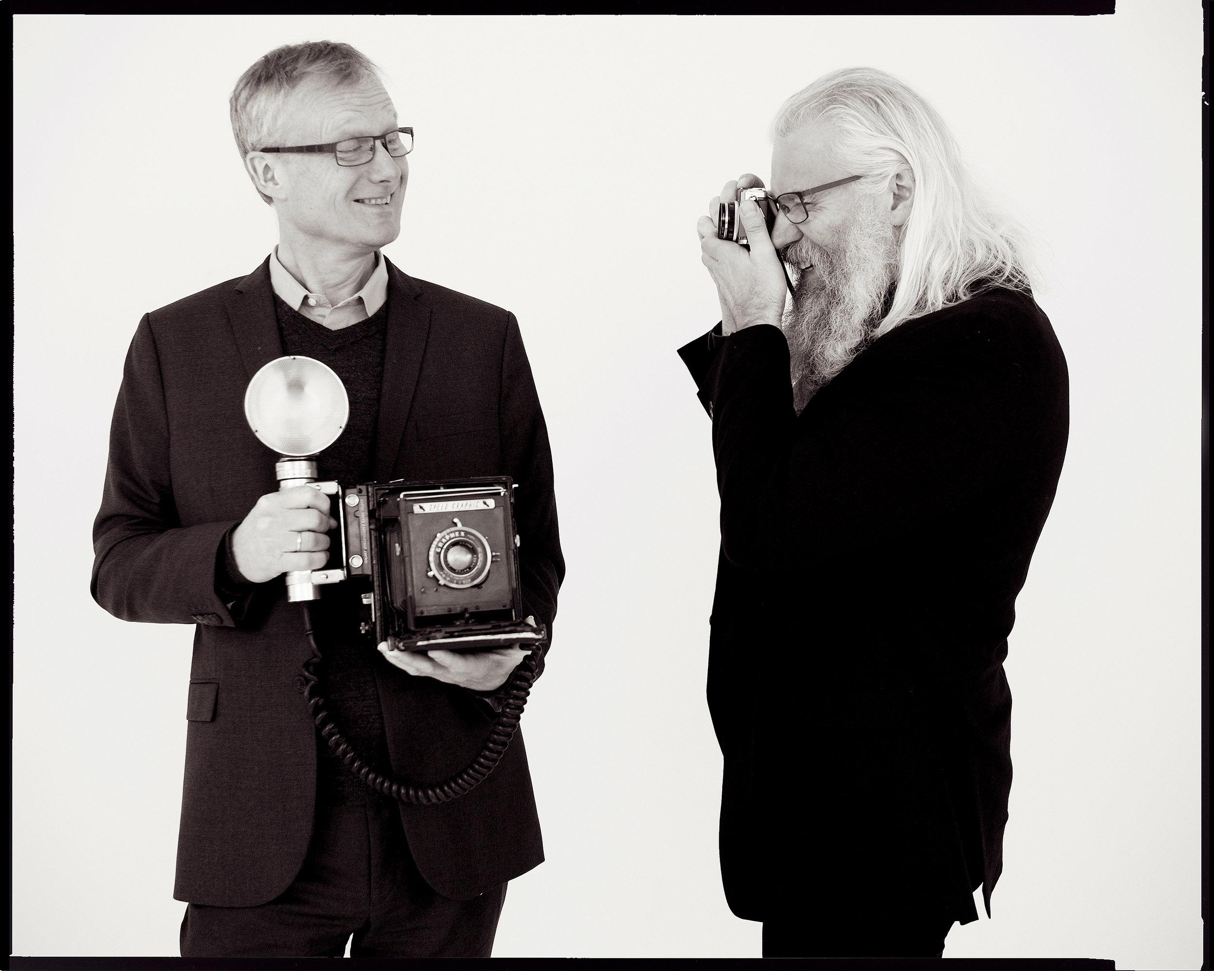 Fra venstre; Kjell Kalland, adm. dir. i HAV Eiendom og Erling Johansen, daglig leder i Fotografihuset AS. (FOTO: CF-Wesenberg)