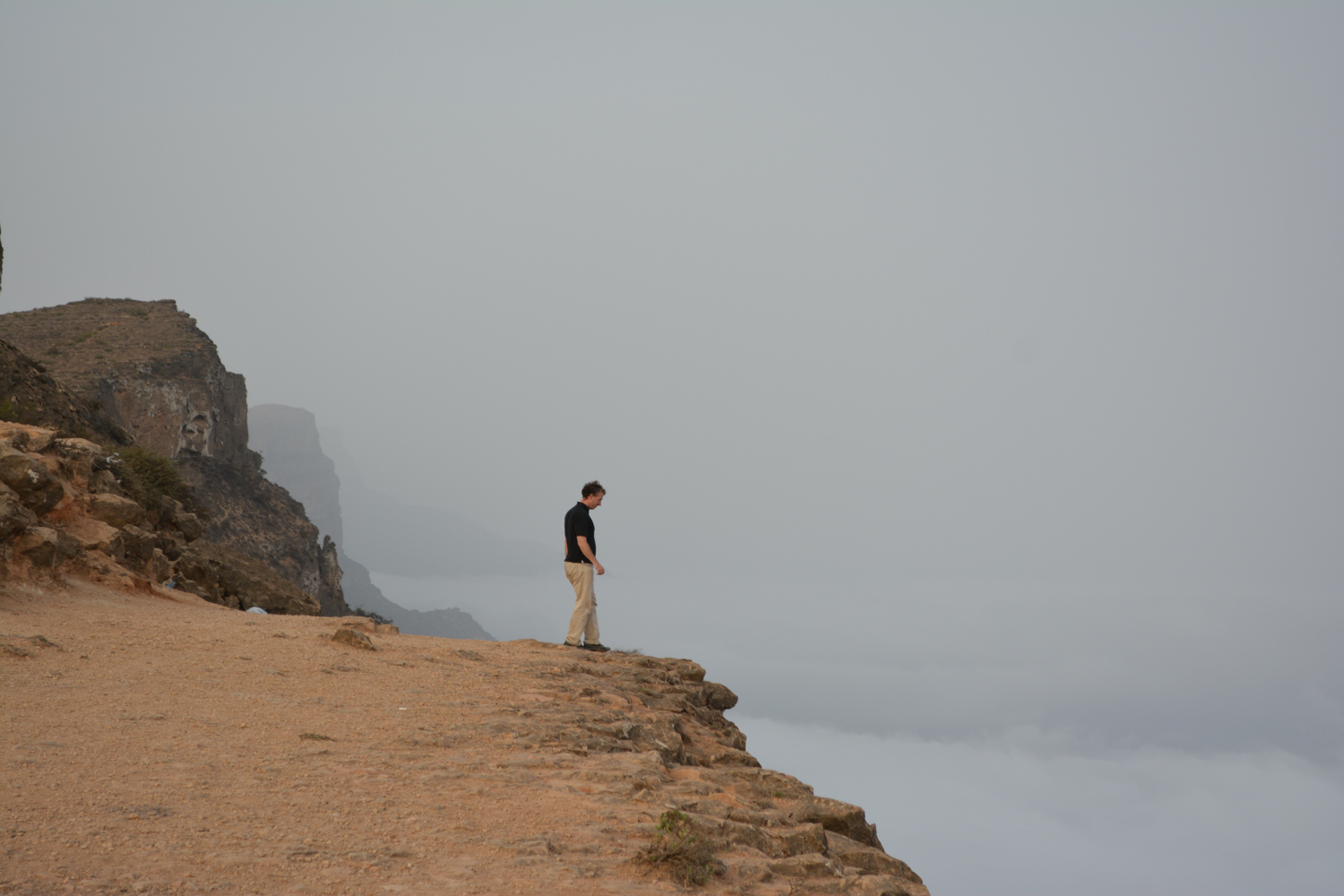 Looking over the edge into the clouds.