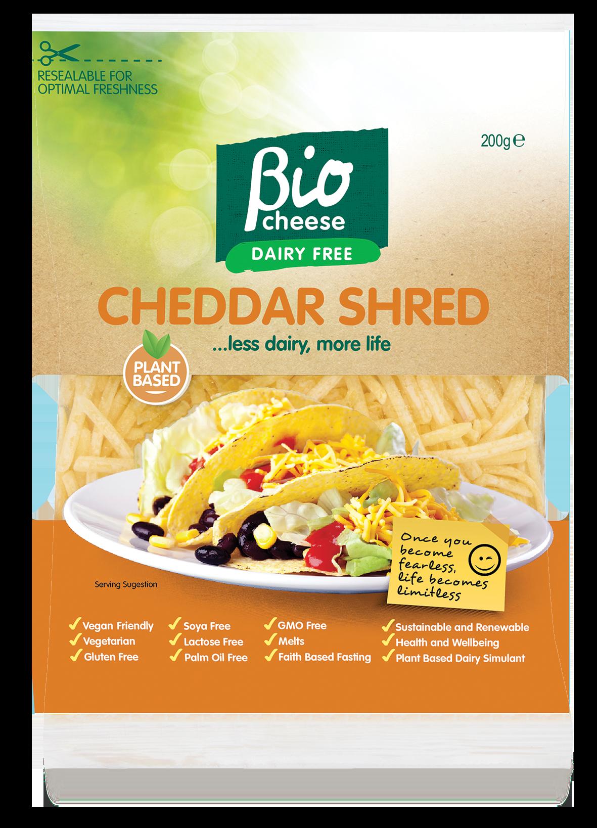 bio cheese cheddar shred vegan cheese