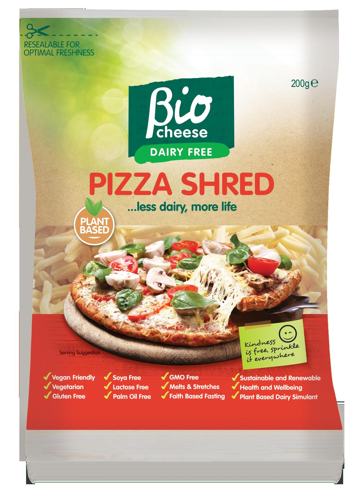 bio cheese pizza shred vegan cheese