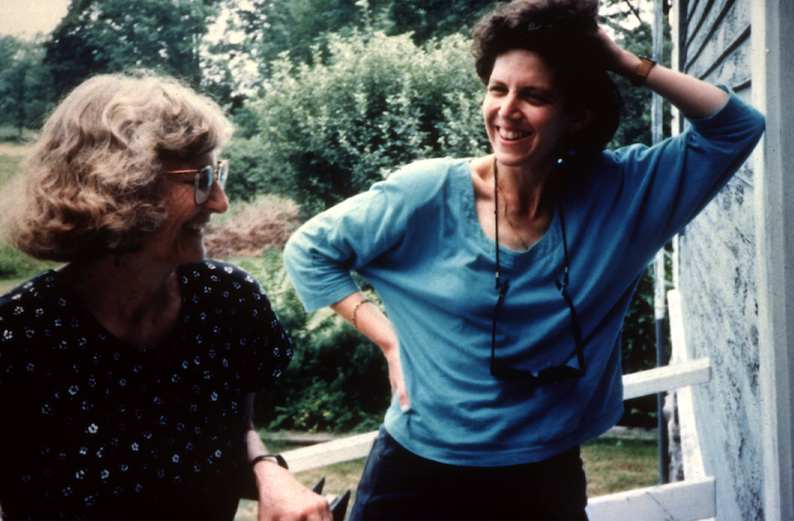 Laurel Thatcher Ulrich and Laurie Kahn on the set of  A Midwife's Tale