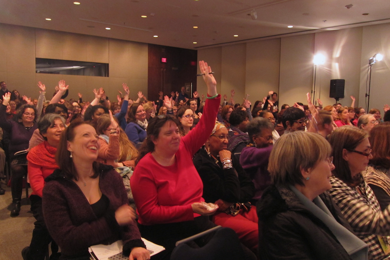 """The """"What Is Love?"""" audience during a panel discussion"""