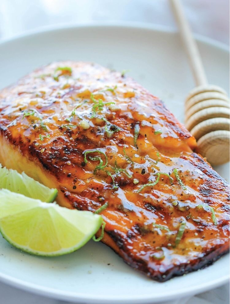 Honey glazed salmon   http://damndelicious.net/2014/08/18/honey-glazed-salmon/