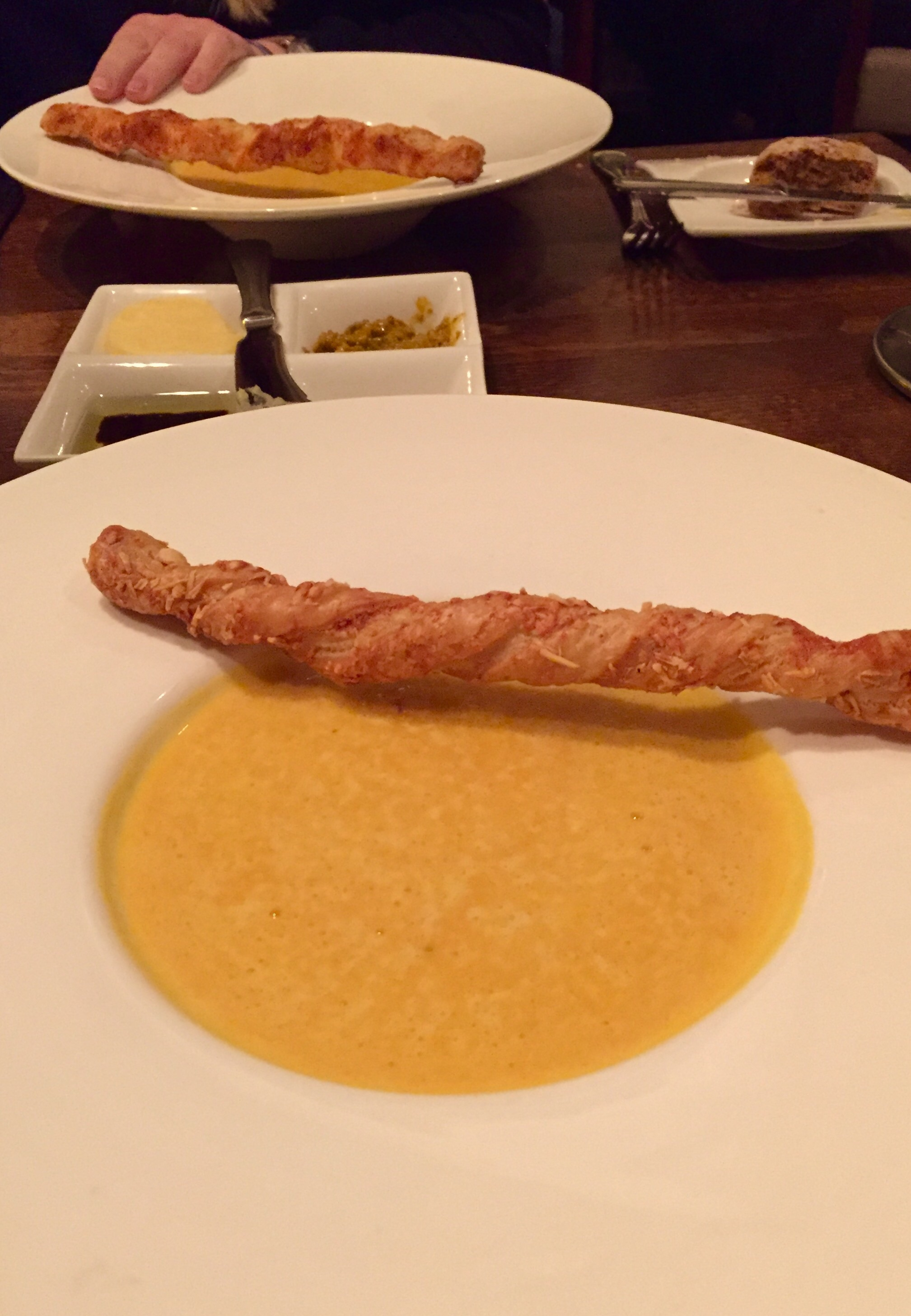 Pumpkin soup with truffle oil!