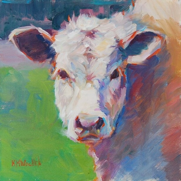 """Mary Alice"" by Kathy Wochele  Wochele is a very talented portrait artist who studied under another of the gallery's portraitists, Marc Chatov. She offers custom portrait commissions as well as landscapes, cows, and other animals. She is a master of color, and each piece glows with stunning hues while also seeming realistic from a distance."