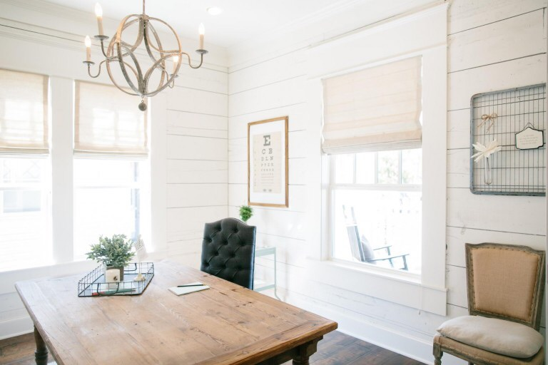 """It wouldn't be a true Chip and Jo """"fixer upper"""" without shiplap: wood boards lining the walls to add character and charm."""