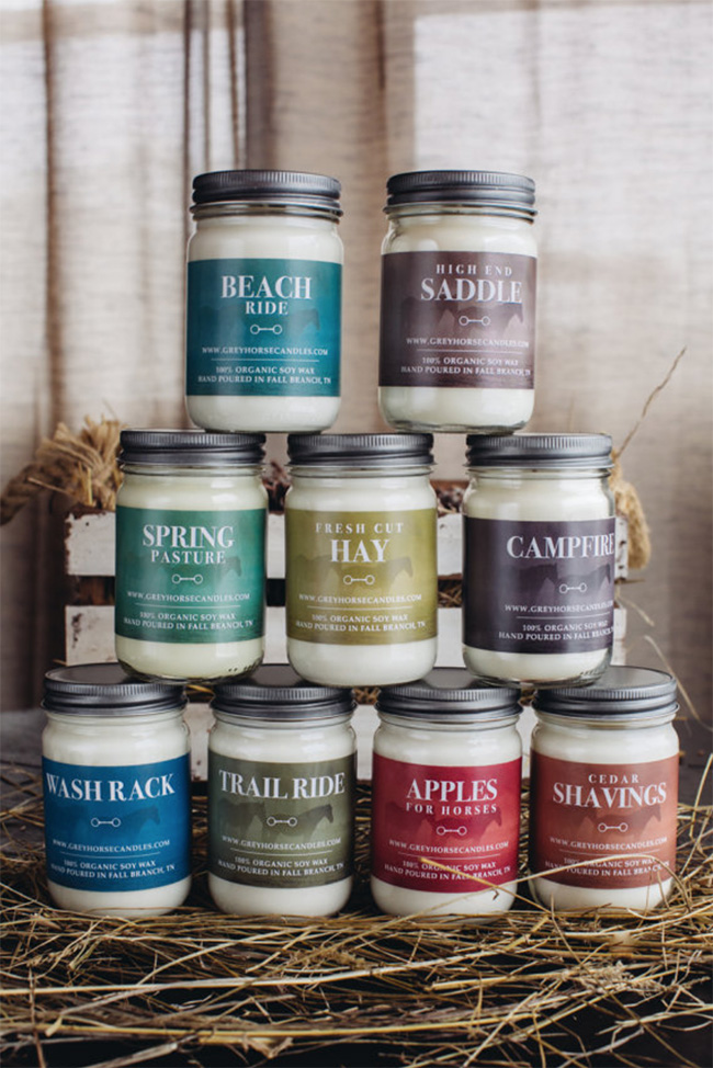 Completely obsessed with these candle scents from the  Grey Horse Candle Company . Who would have ever imagined a candle that smells like your high-end saddle or cedar shavings?! Buying them all ASAP.